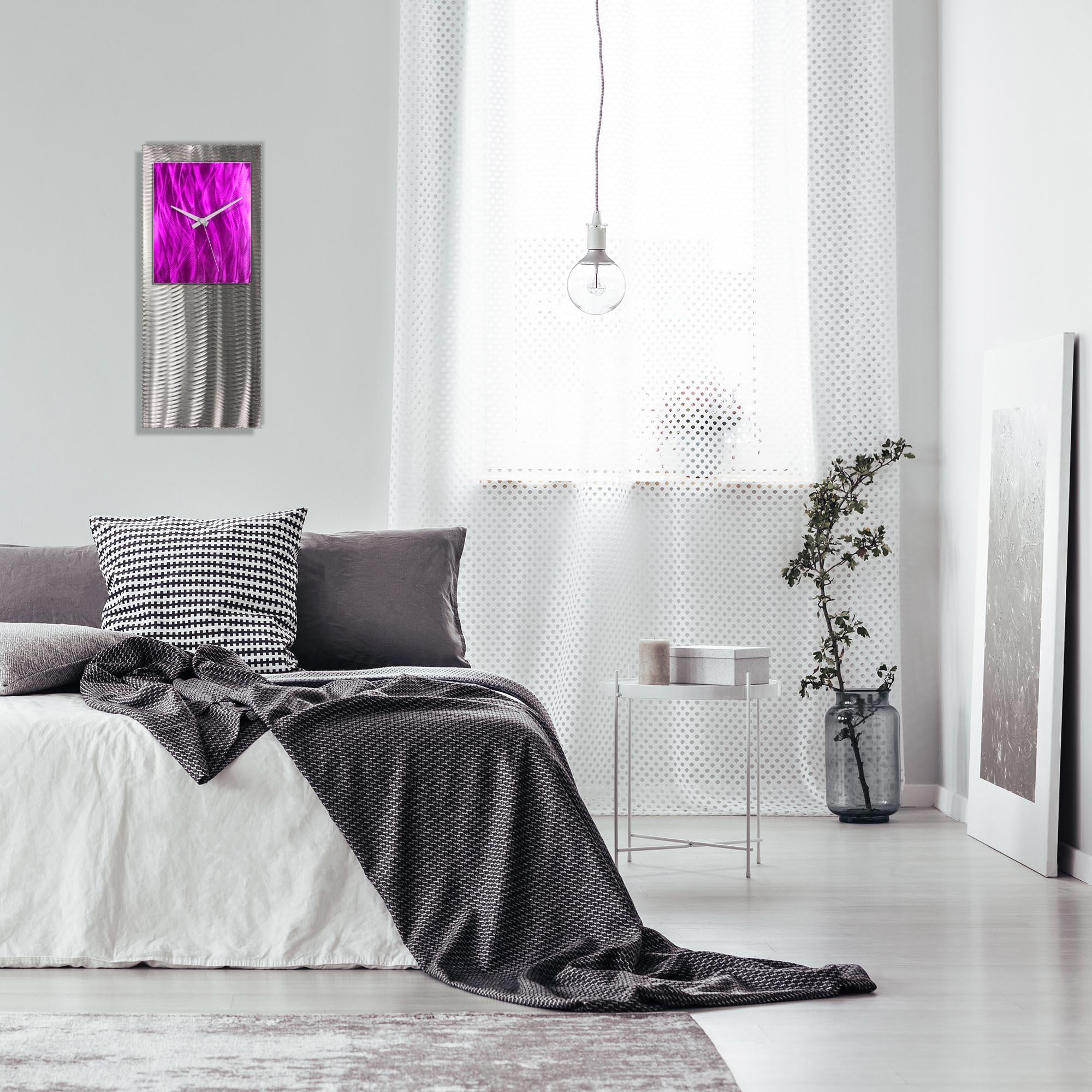 Metal Art Studio Abstract Decor Pink Studio Clock 10in x 24in - Lifestyle View