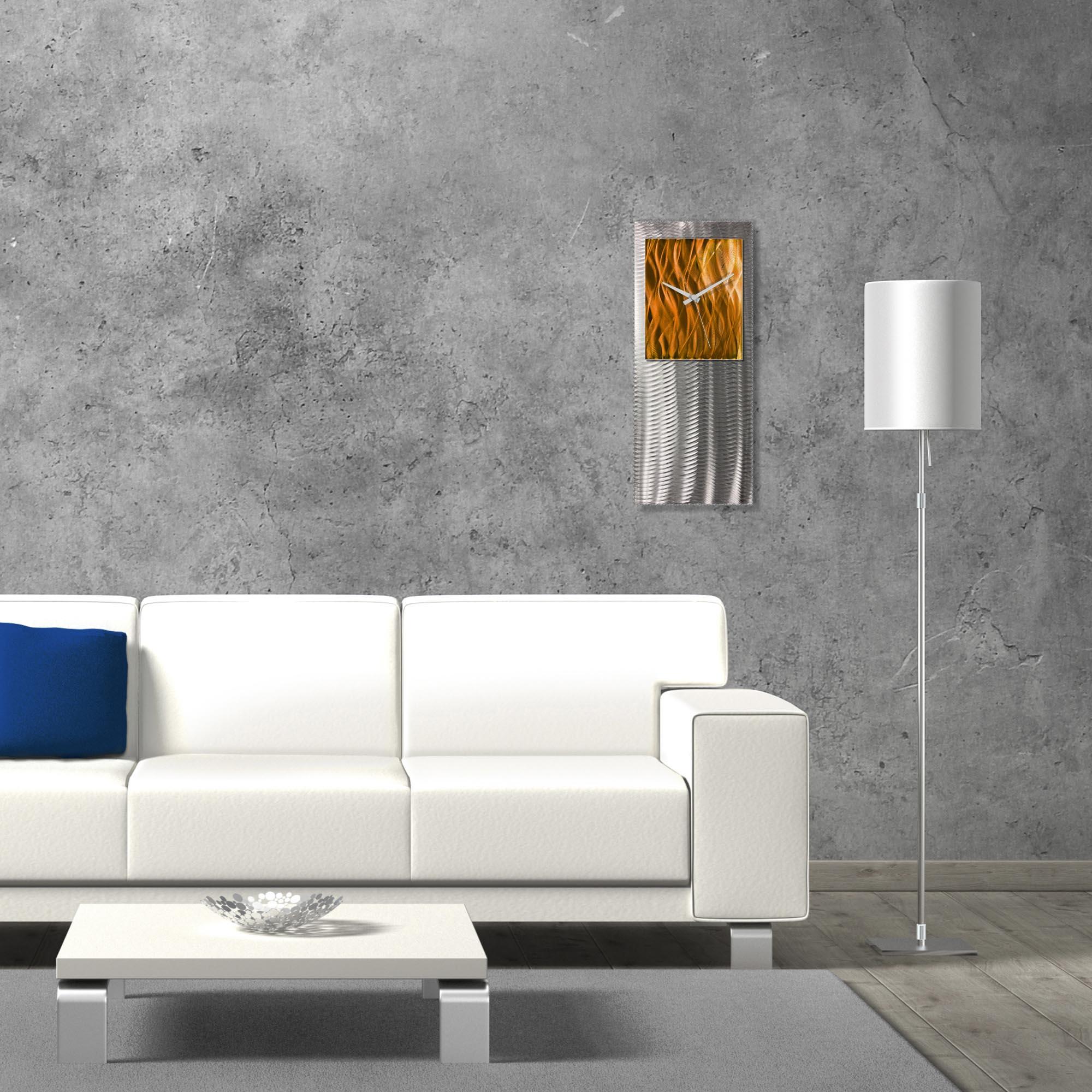 Metal Art Studio Abstract Decor Orange Studio Clock 10in x 24in - Lifestyle View