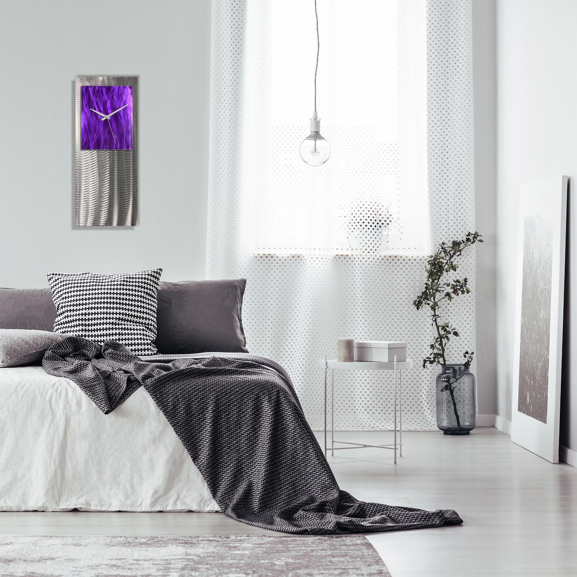 Metal Art Studio Abstract Decor Purple Studio Clock 10in x 24in - Lifestyle View