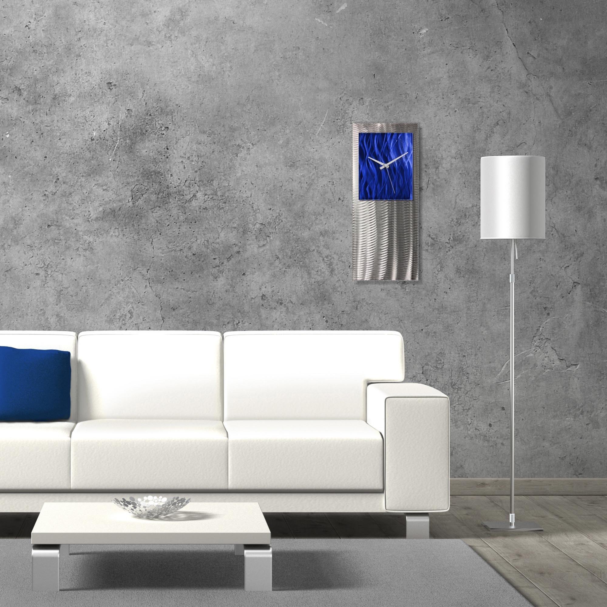 Metal Art Studio Abstract Decor Blue Studio Clock 10in x 24in - Lifestyle View
