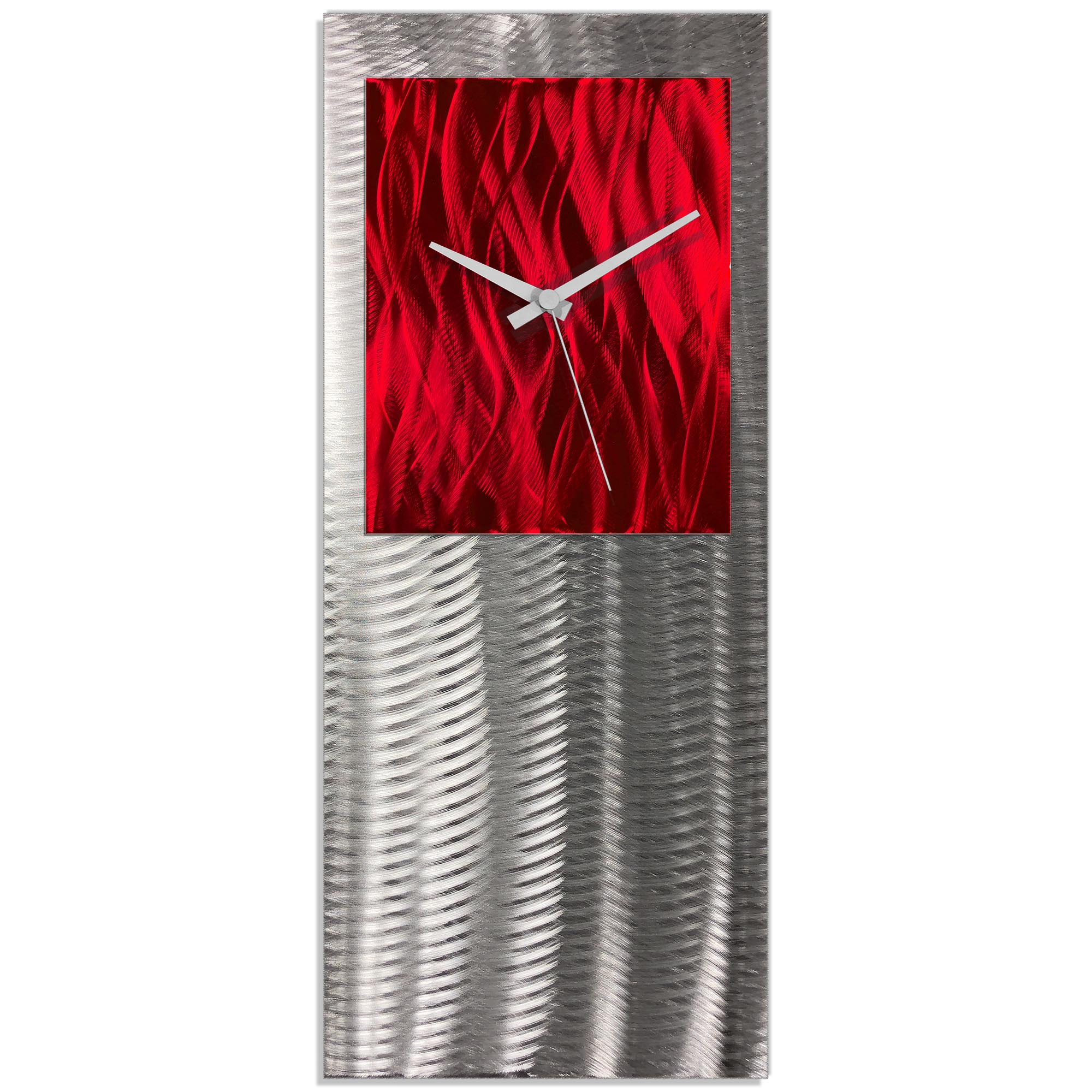 Metal Art Studio Abstract Decor Red Studio Clock 10in x 24in