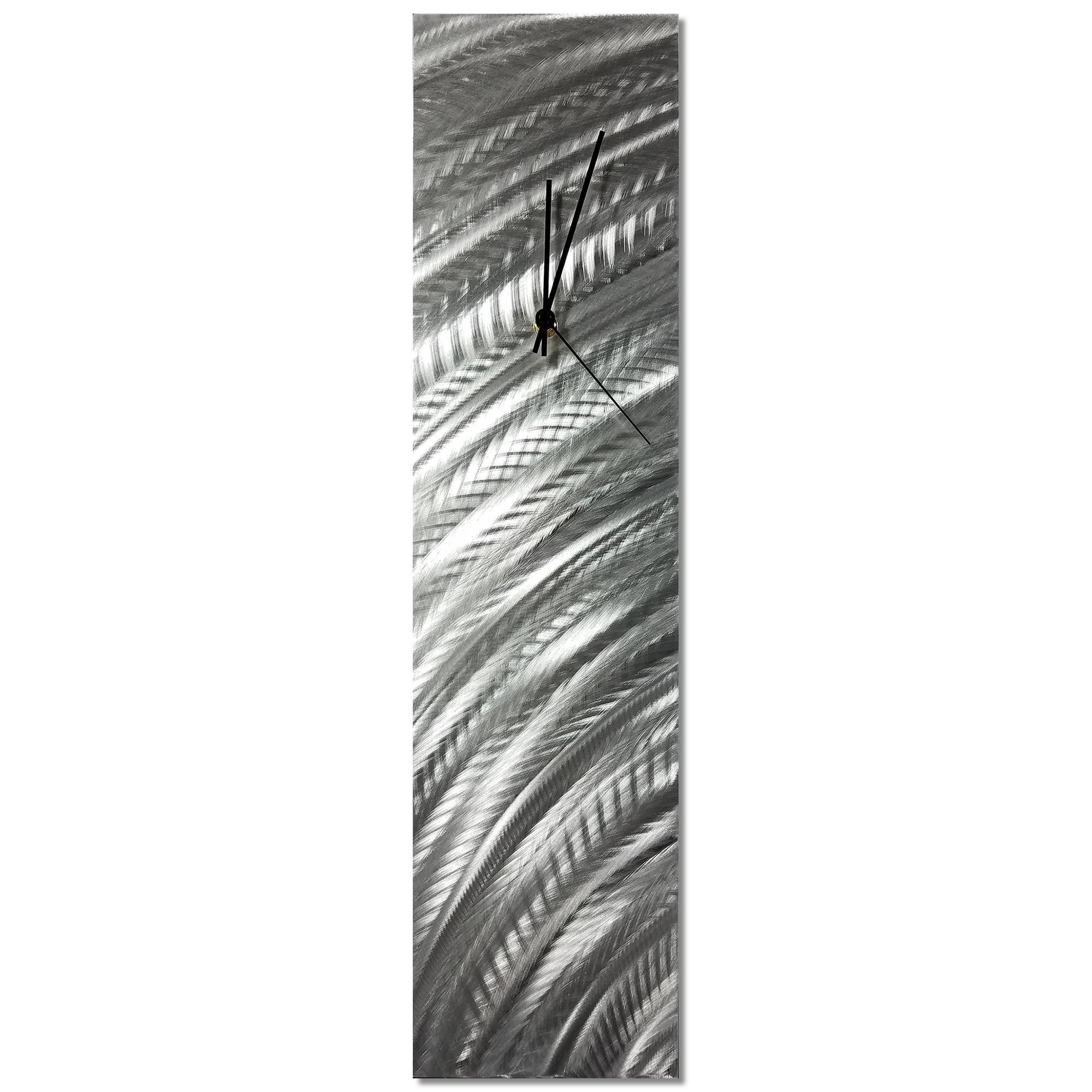 Silver Curves Clock 6x24in. Natural Aluminum