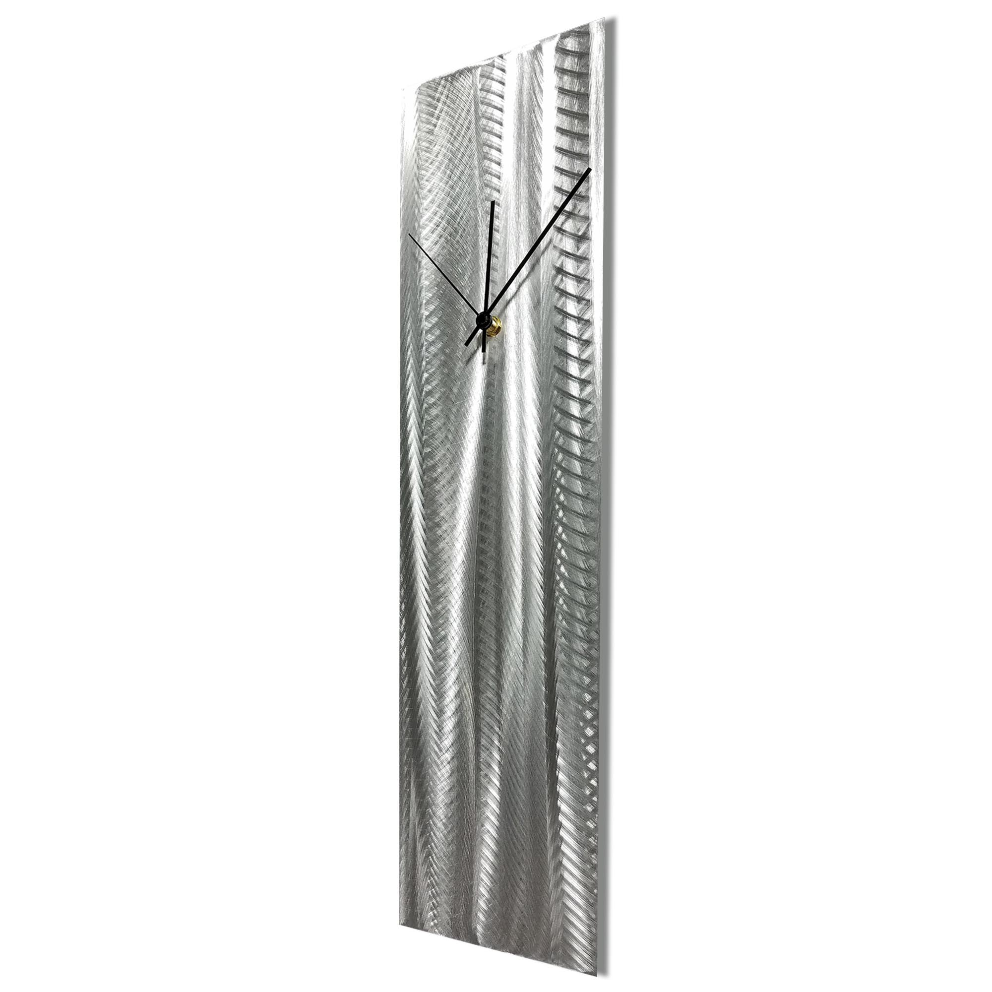 Silver Lines Clock by Helena Martin Contemporary Wall Clock on Natural Aluminum - Image 2