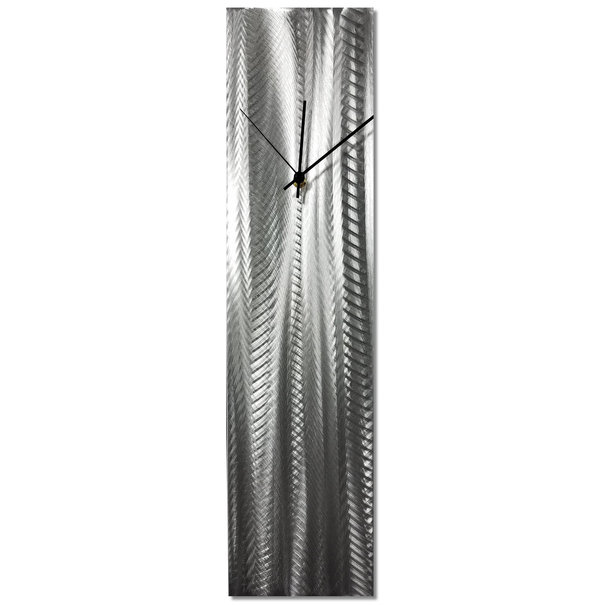 Silver Lines Clock 6x24in. Natural Aluminum