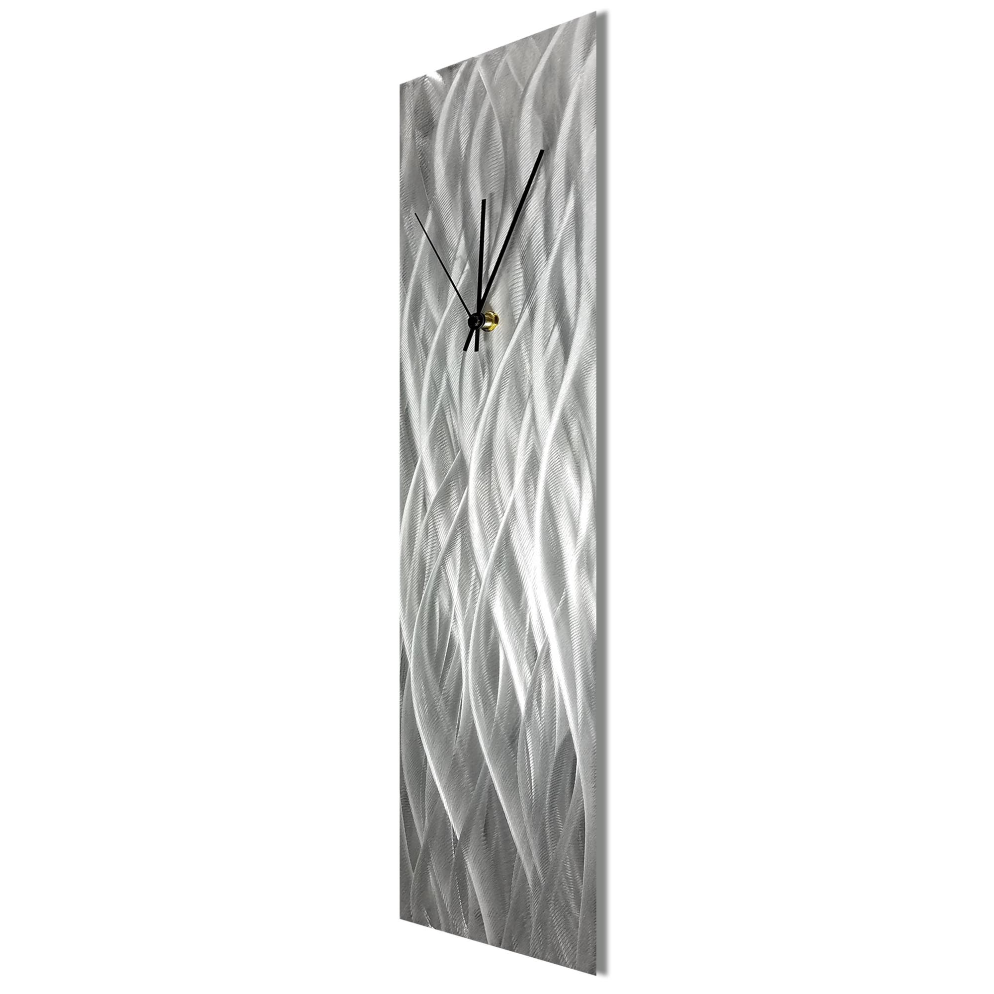 Silver Waves Clock by Helena Martin Contemporary Wall Clock on Natural Aluminum - Image 2