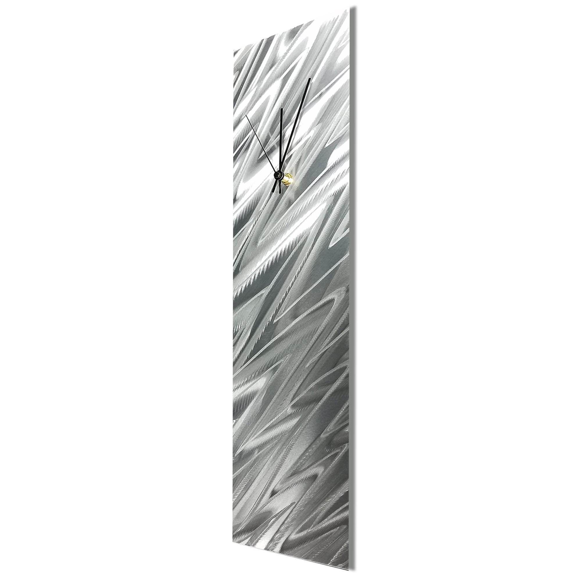 Silver Zig Zag Clock by Nate Halley Contemporary Wall Clock on Natural Aluminum - Image 2