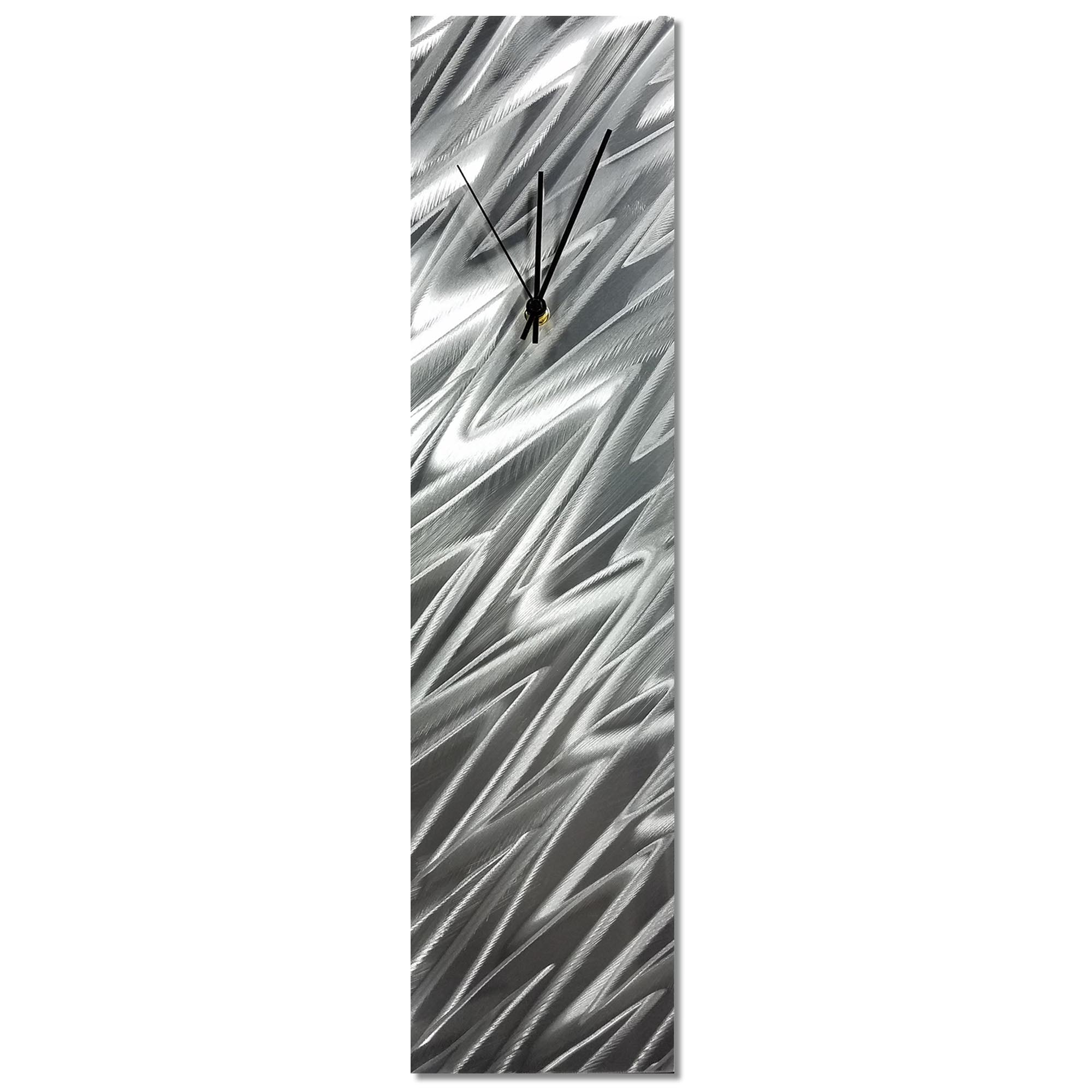Silver Zig Zag Clock 6x24in. Natural Aluminum