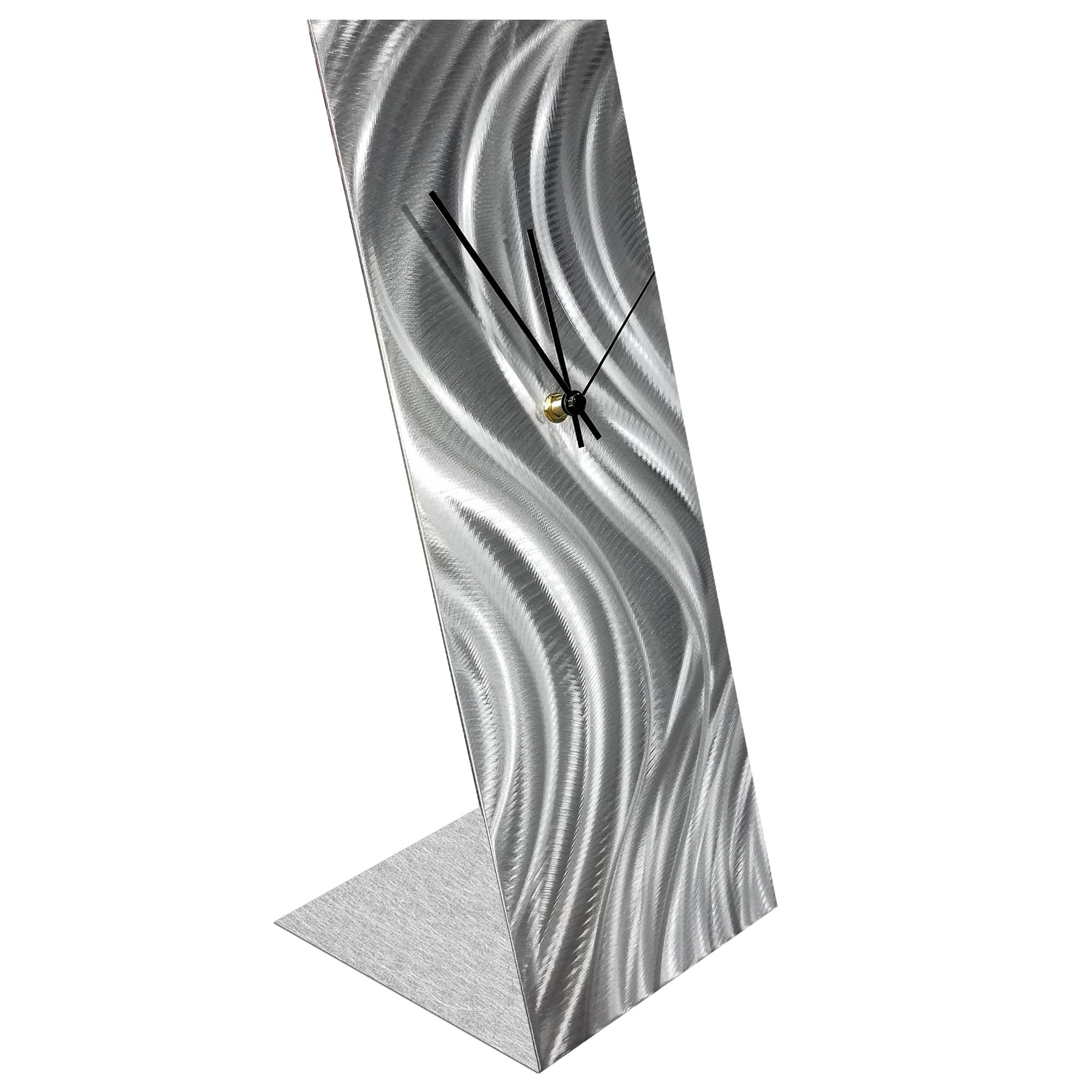 Silver River Desk Clock by Helena Martin Modern Table Clock on Natural Aluminum - Image 2