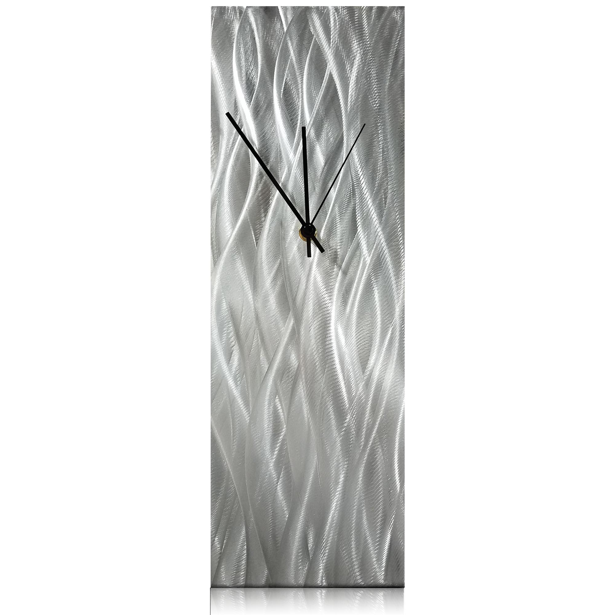 Silver Waves Desk Clock 6x18in Natural Aluminum