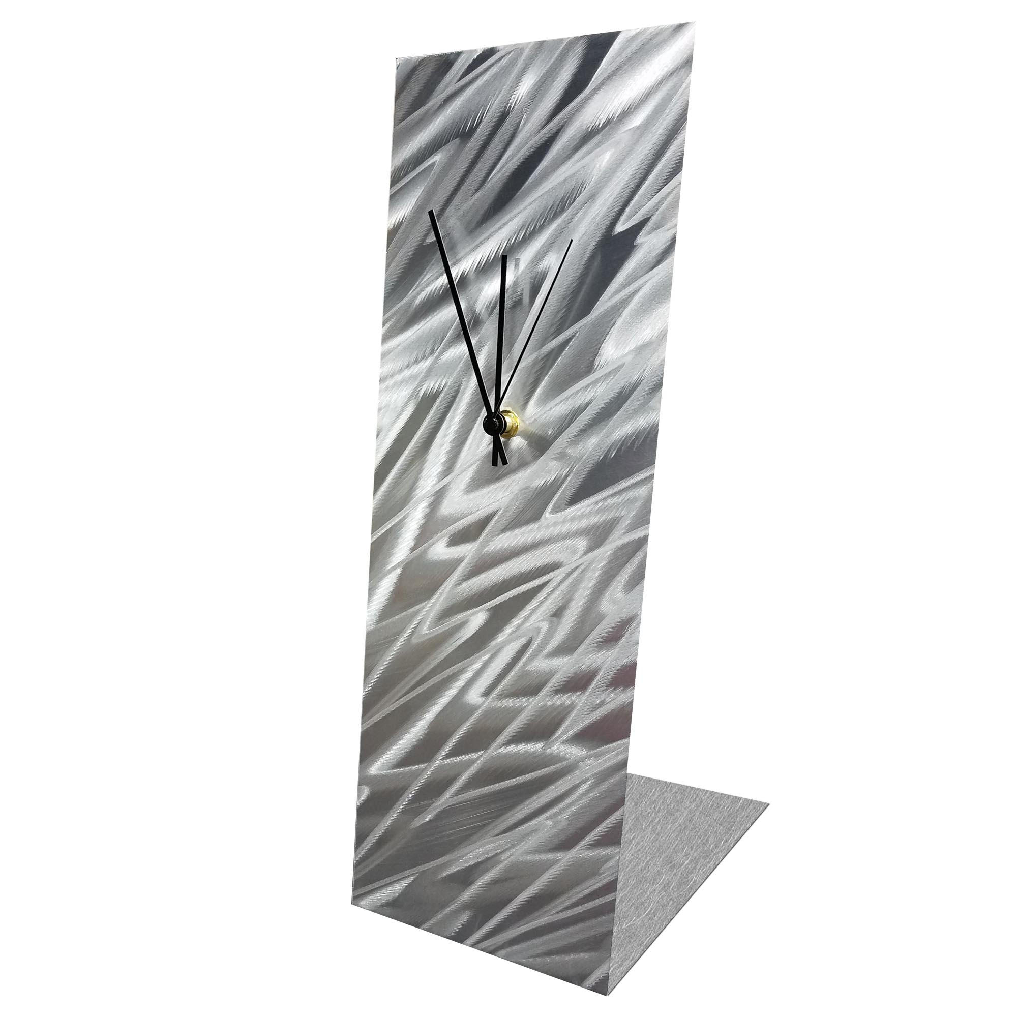 Silver Zig Zag Desk Clock by Helena Martin Modern Table Clock on Natural Aluminum - Image 2