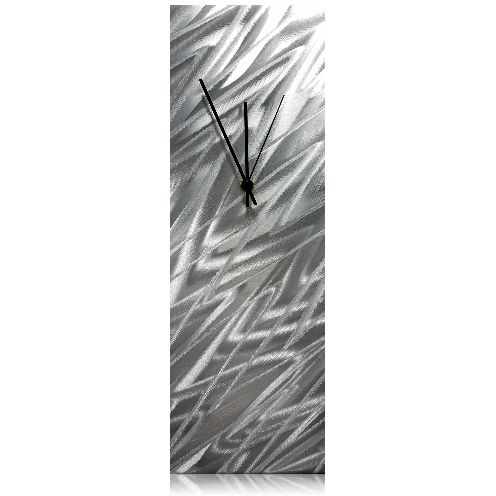 Silver Zig Zag Desk Clock 6x18in. Natural Aluminum