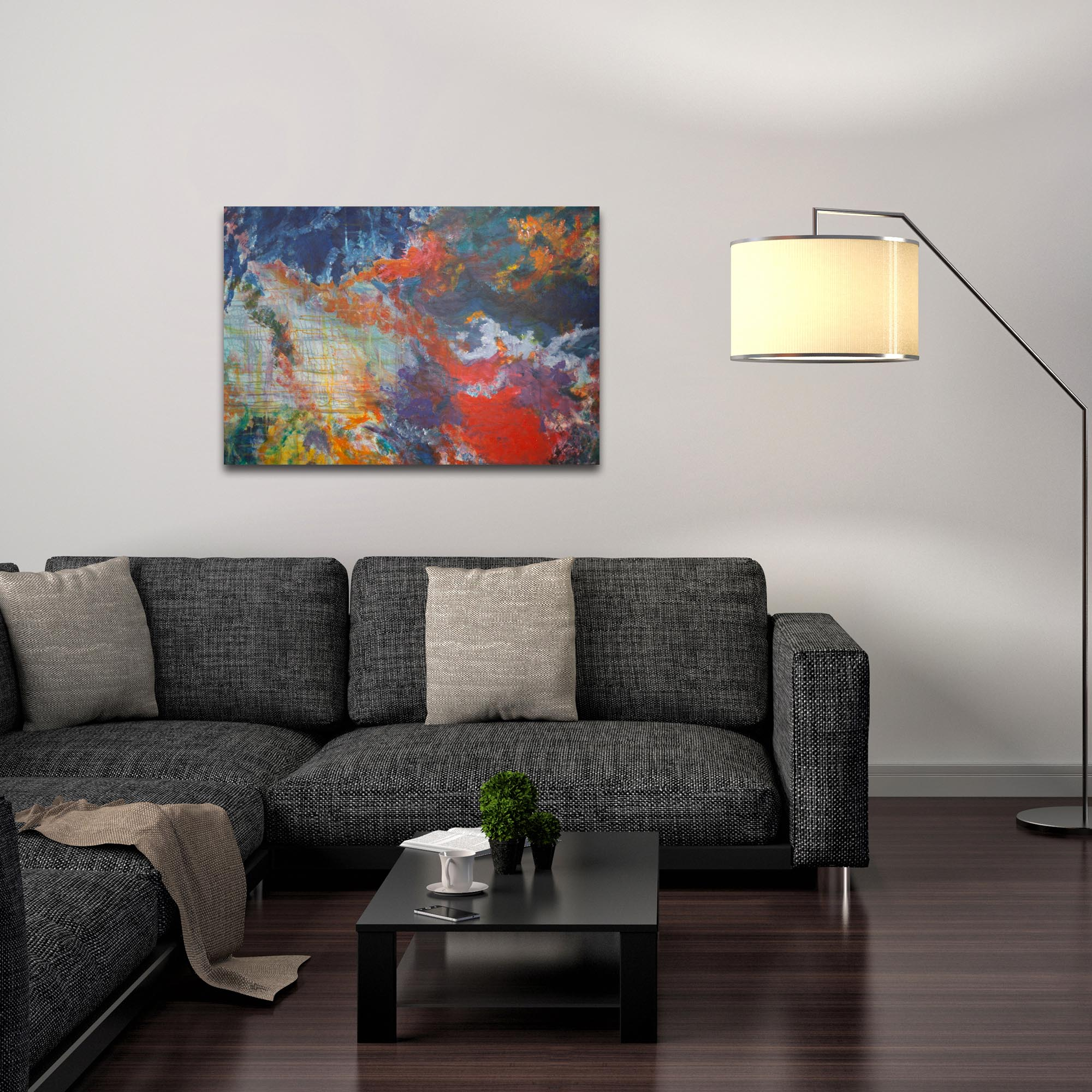 Abstract Wall Art 'Clouds of Color' - Urban Decor on Metal or Plexiglass - Lifestyle View