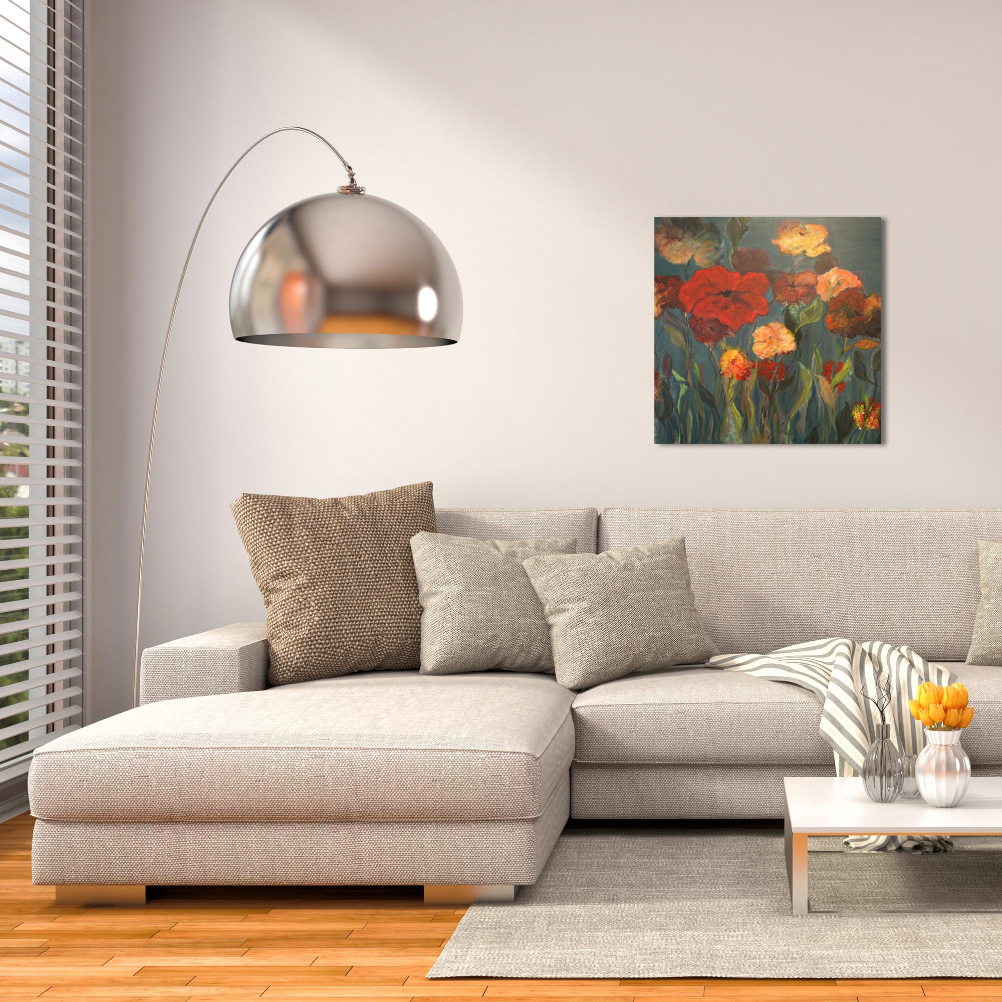 Traditional Wall Art 'Flower Patch' - Flower Bouquet Decor on Metal or Plexiglass - Lifestyle View