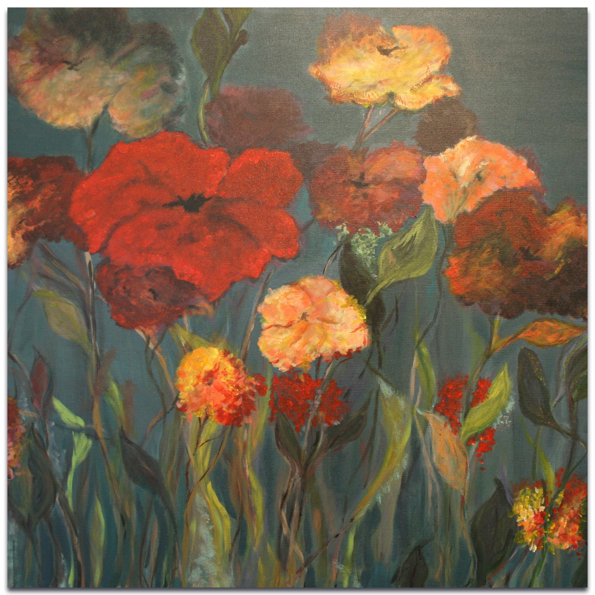 Traditional Wall Art 'Flower Patch' - Flower Bouquet Decor on Metal or Plexiglass
