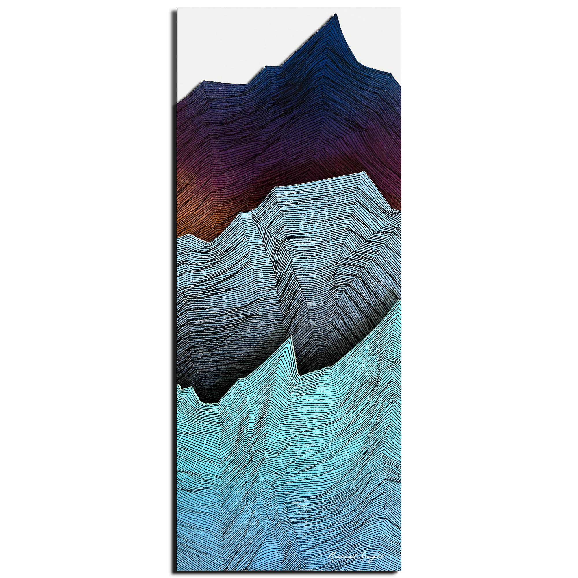 Richard Knight 'Cool Peaks' 19in x 48in Abstract Landscape Art on Polymetal