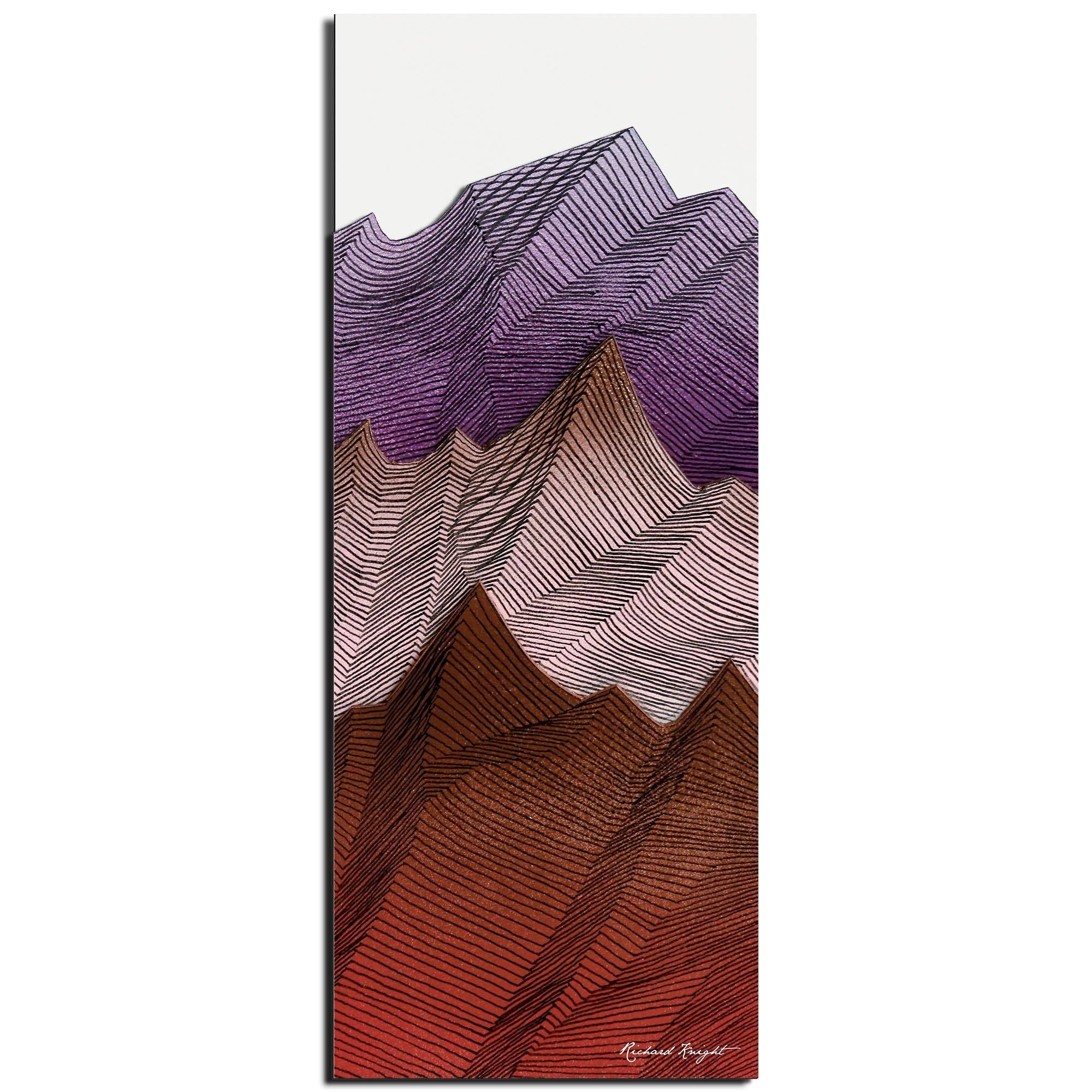 Richard Knight 'Warm Peaks' 19in x 48in Abstract Landscape Art on Polymetal