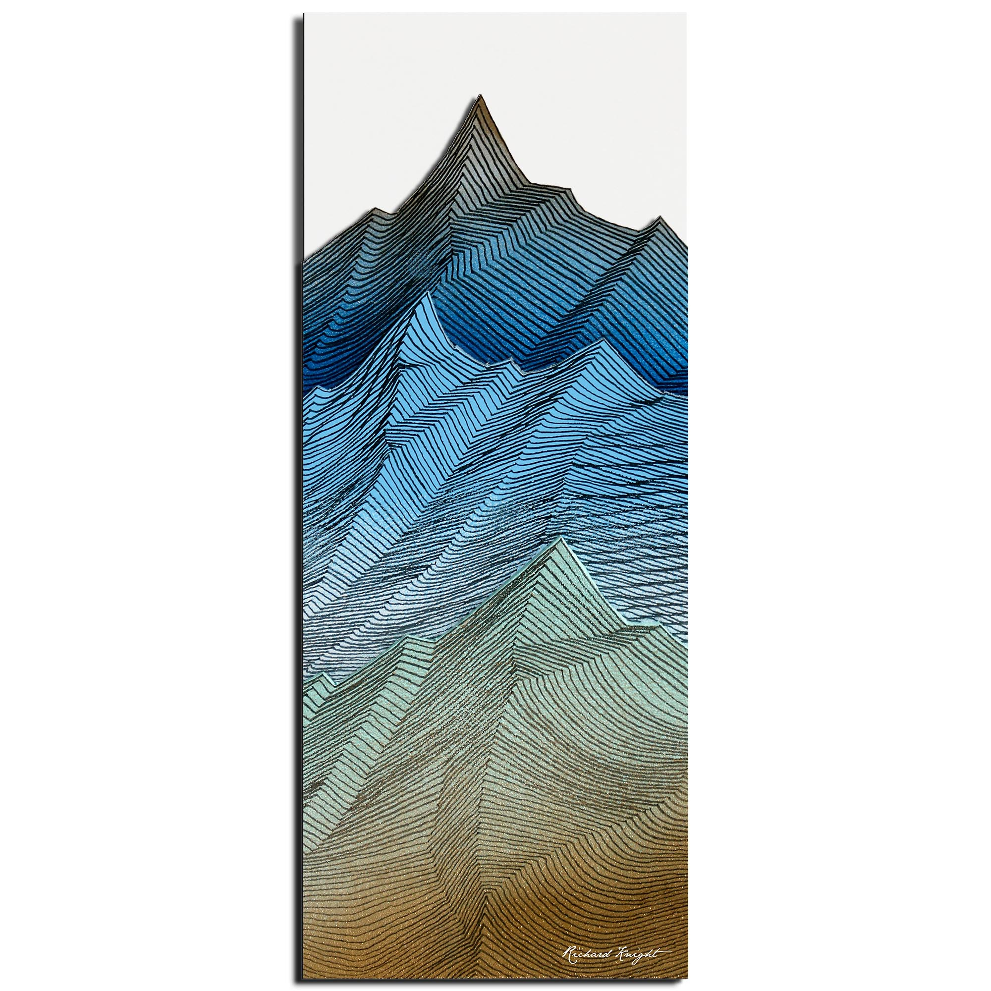 Richard Knight 'Organic Peaks' 19in x 48in Abstract Landscape Art on Polymetal