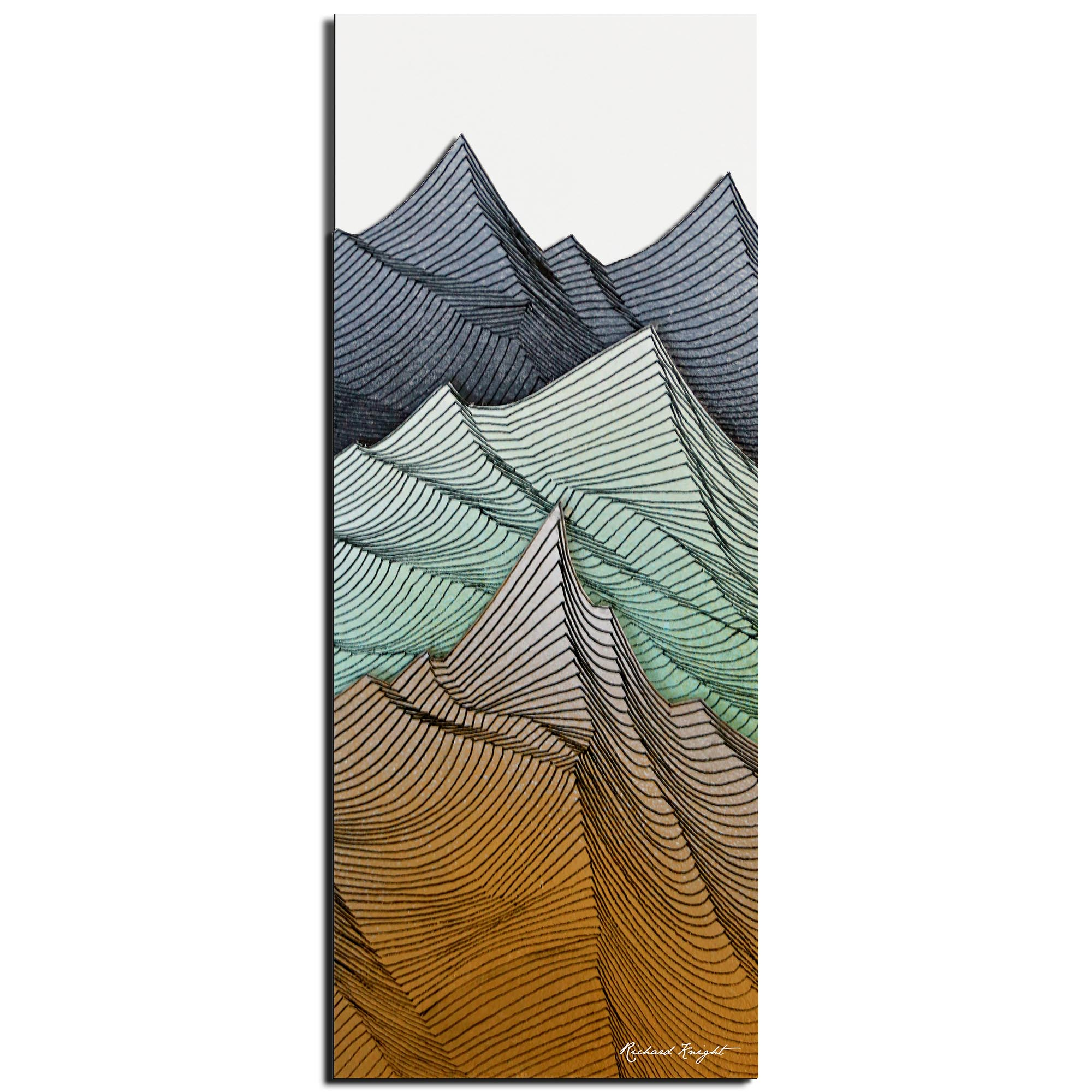 Richard Knight 'Earth Peaks' 19in x 48in Abstract Landscape Art on Polymetal