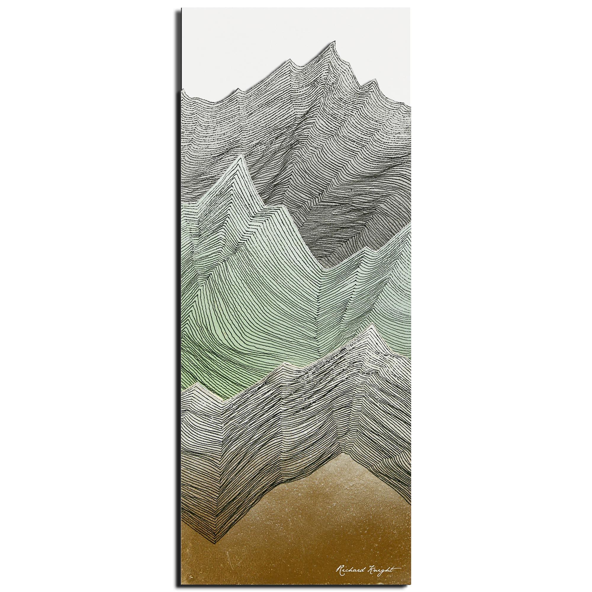 Richard Knight 'Mint Peaks' 19in x 48in Abstract Landscape Art on Polymetal