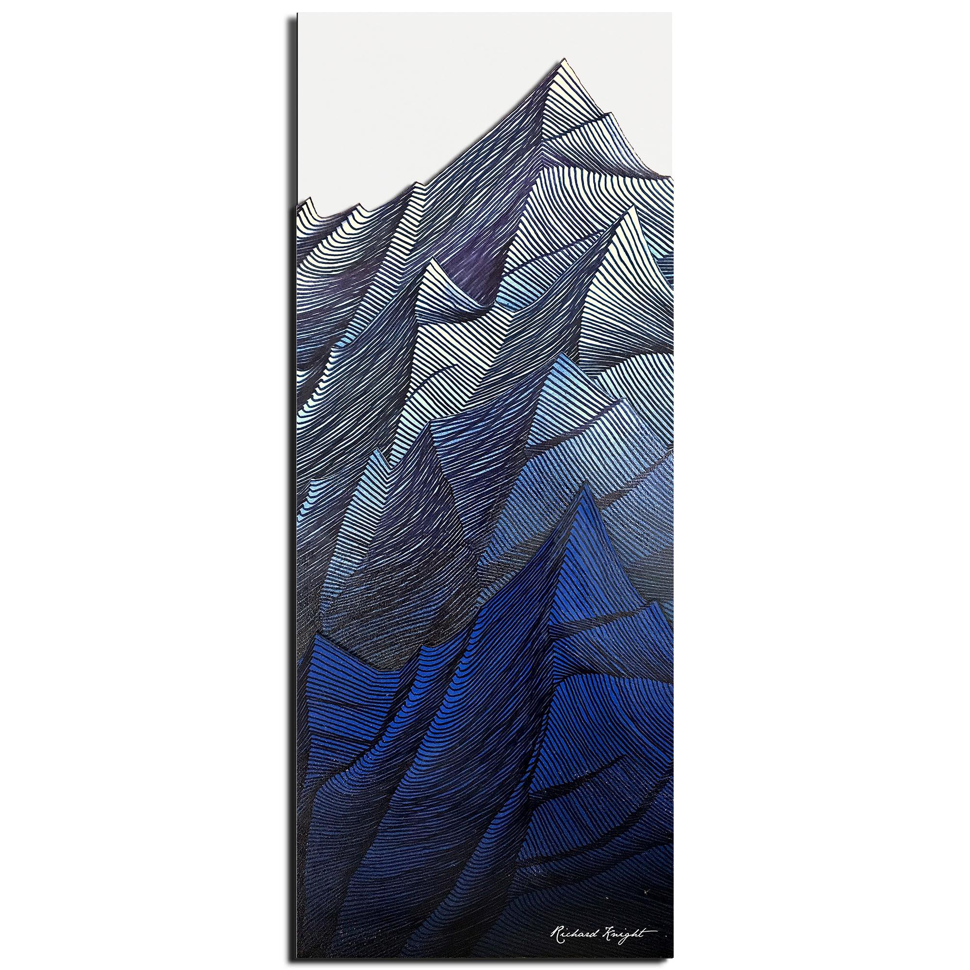 Richard Knight 'Frozen Peaks' 19in x 48in Abstract Landscape Art on Polymetal
