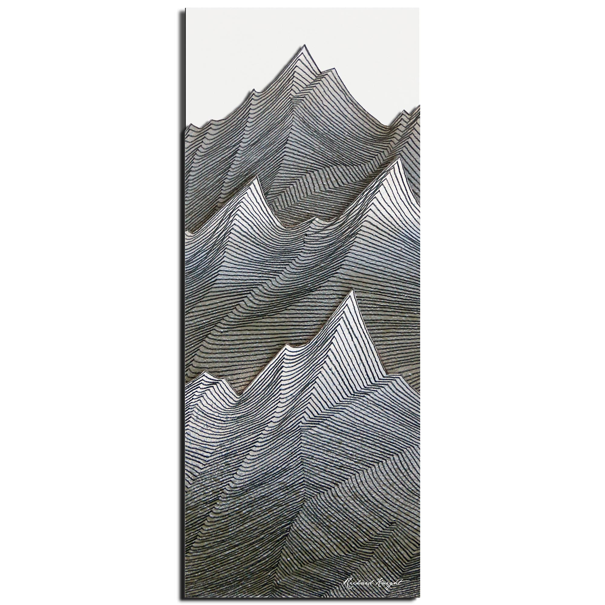 Richard Knight 'Stone Peaks' 19in x 48in Abstract Landscape Art on Polymetal