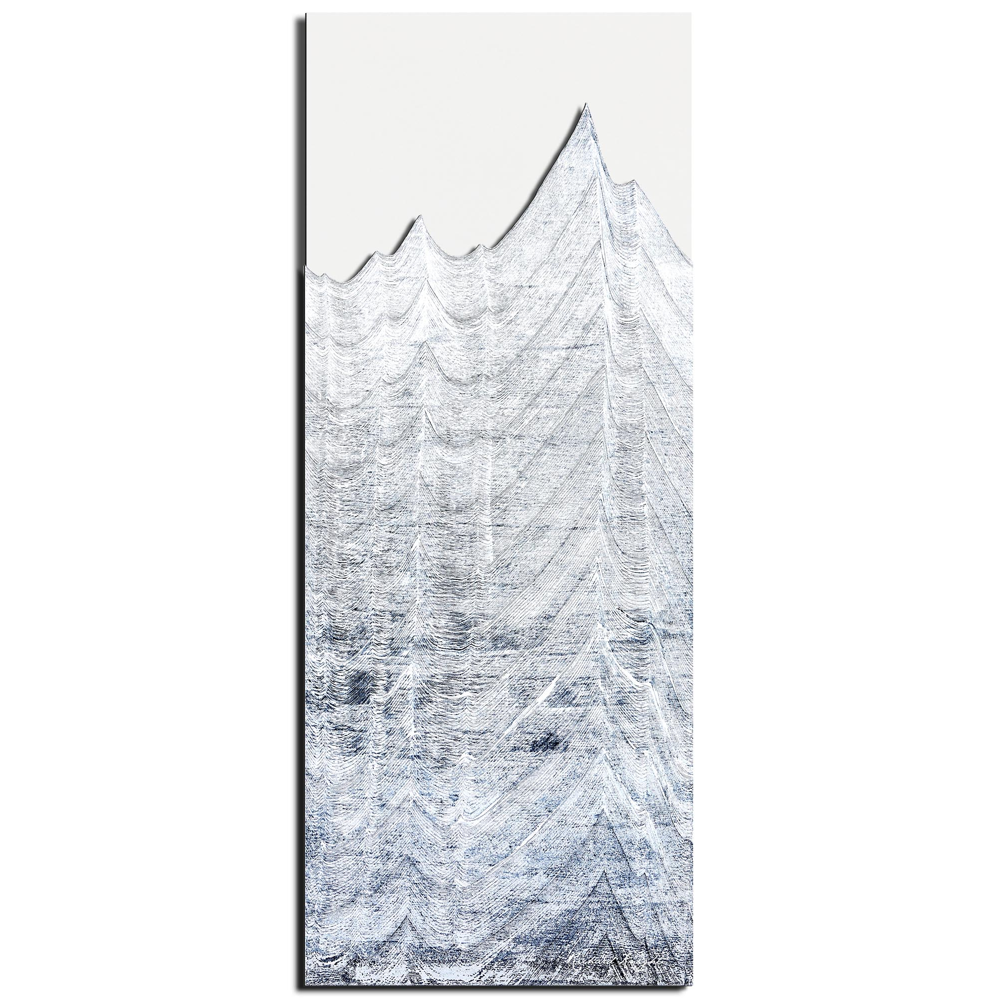 Richard Knight 'Whitewashed Peaks' 19in x 48in Abstract Landscape Art on Polymetal