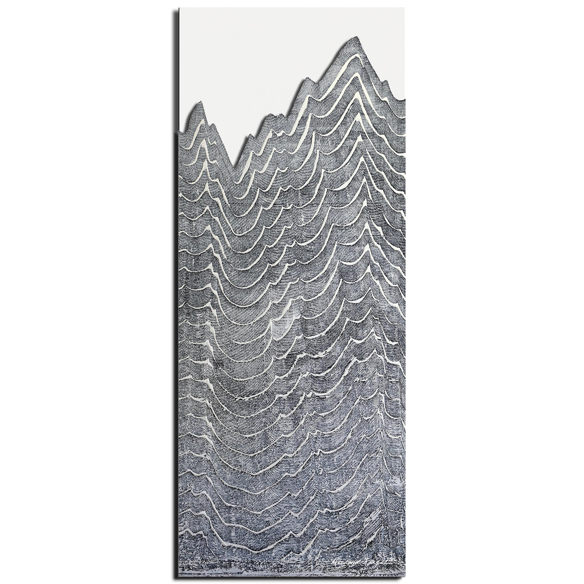 Richard Knight 'Aging Peaks' 19in x 48in Abstract Landscape Art on Polymetal