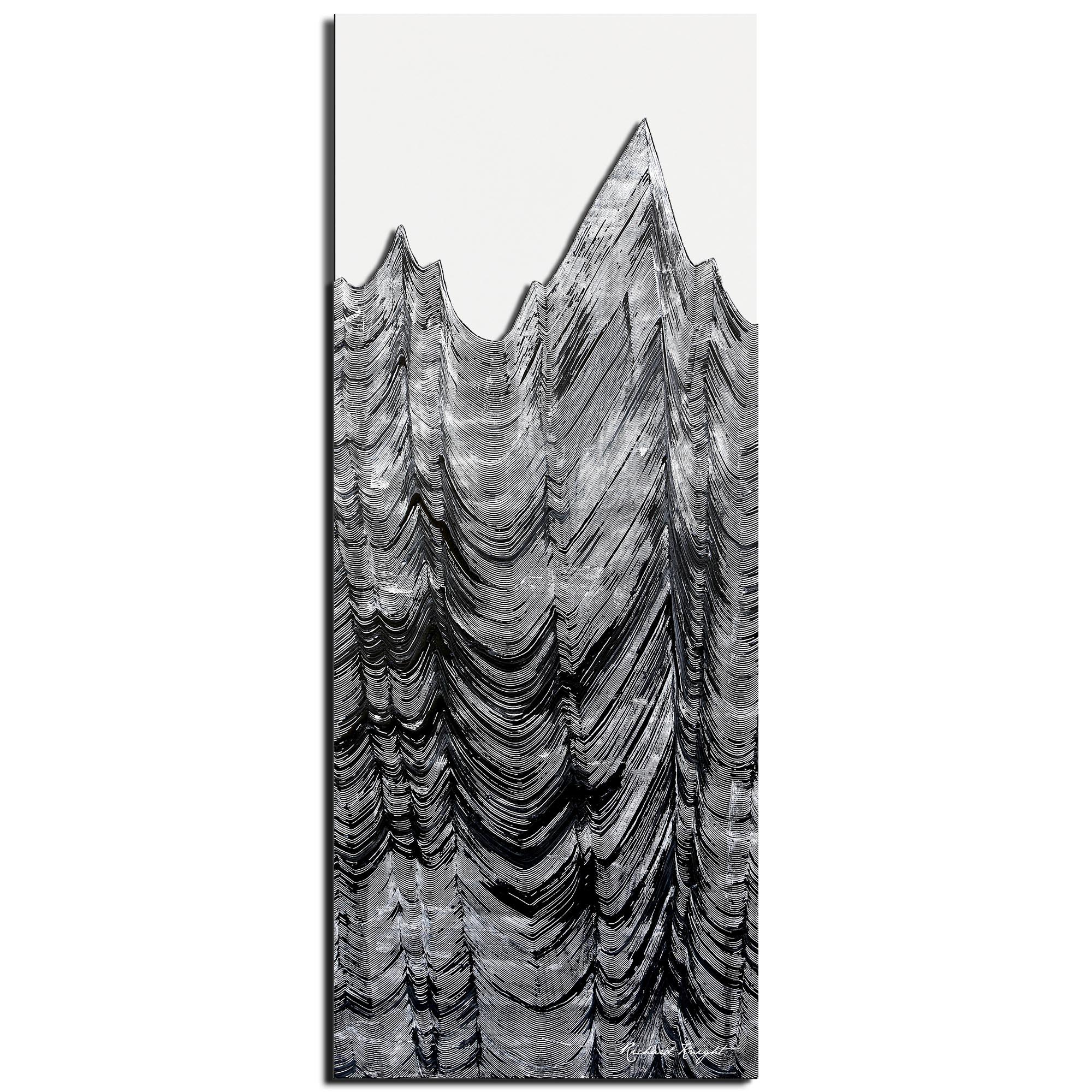 Richard Knight 'Slate Peaks' 19in x 48in Abstract Landscape Art on Polymetal