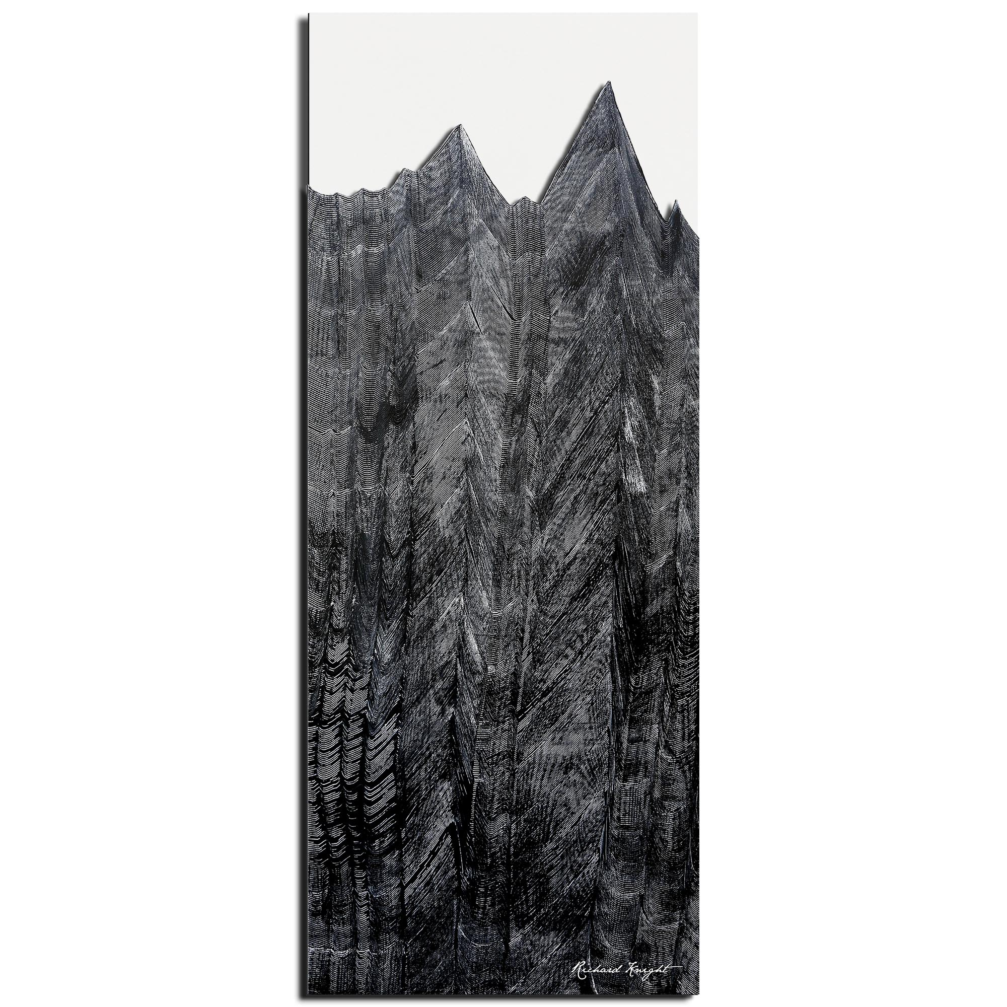 Richard Knight 'Midnight Peaks' 19in x 48in Abstract Landscape Art on Polymetal