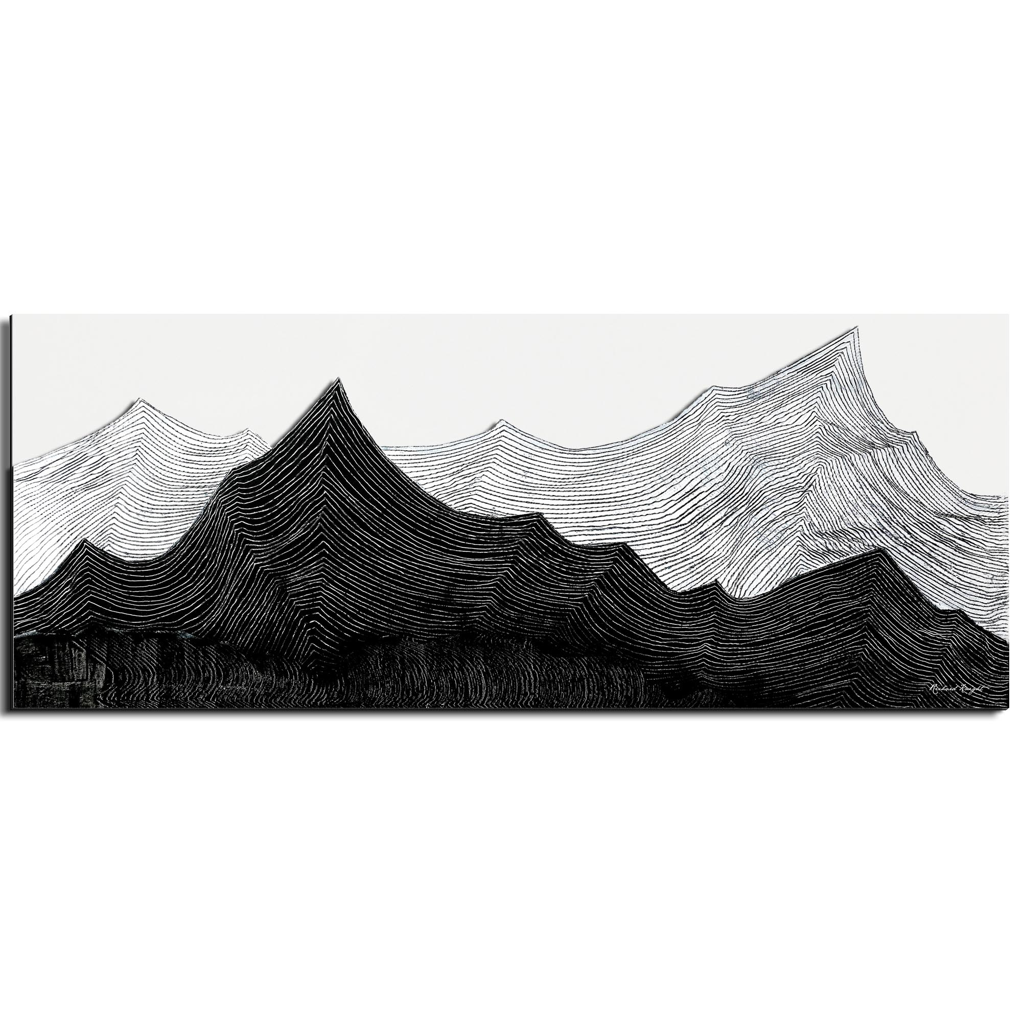 Richard Knight 'Contrasting Horizon' 48in x 19in Abstract Landscape Art on Polymetal
