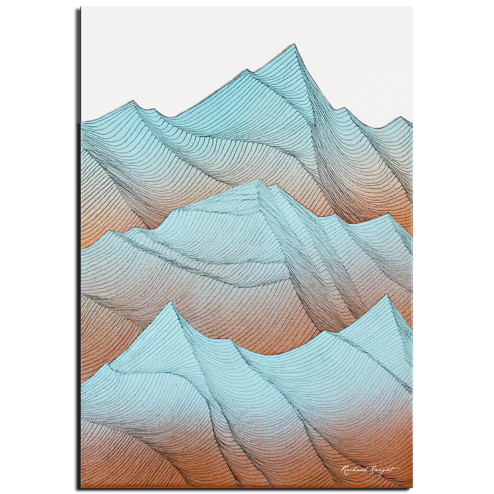 Richard Knight 'Desert Mountains' 22in x 32in Abstract Landscape Art on Polymetal