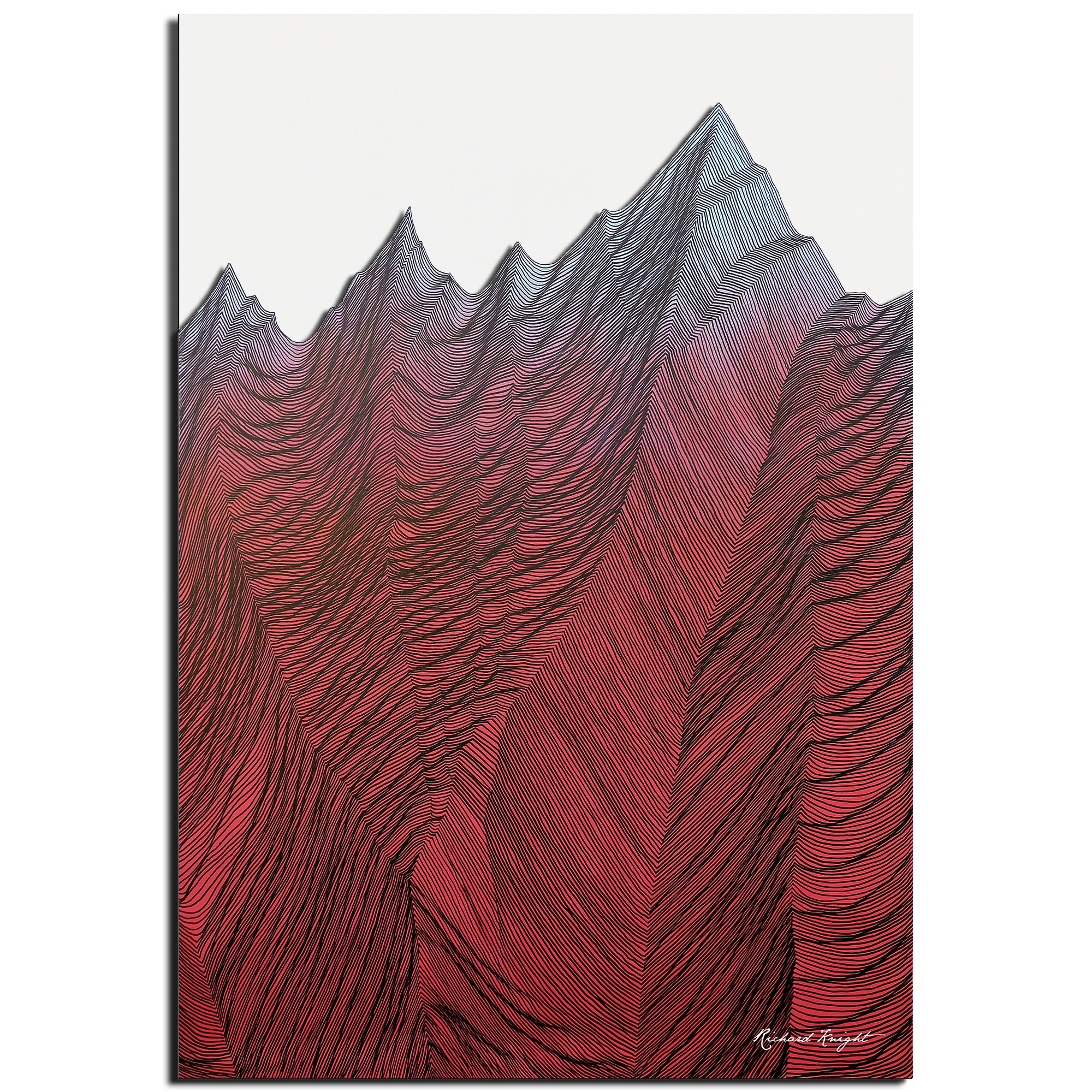Richard Knight 'Sunset Mountains' 22in x 32in Abstract Landscape Art on Polymetal