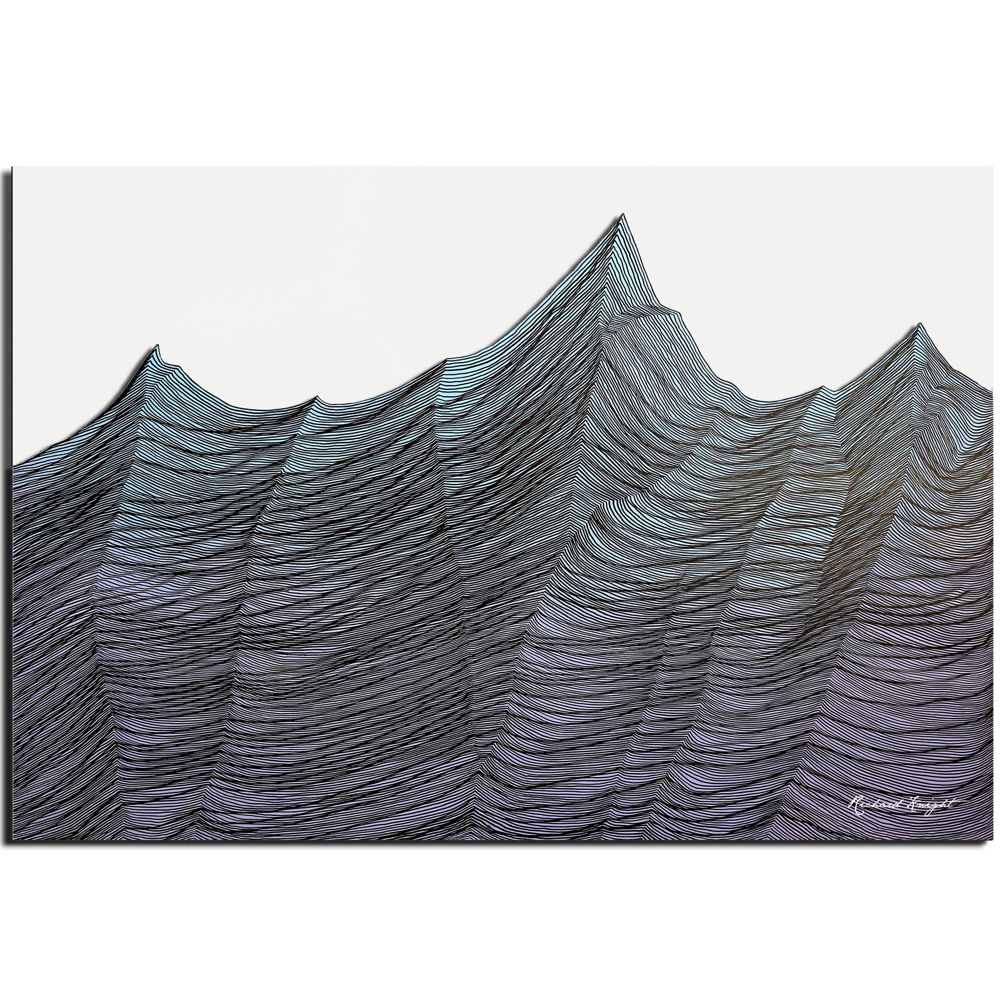 Richard Knight 'Brisk Range' 32in x 22in Abstract Landscape Art on Polymetal