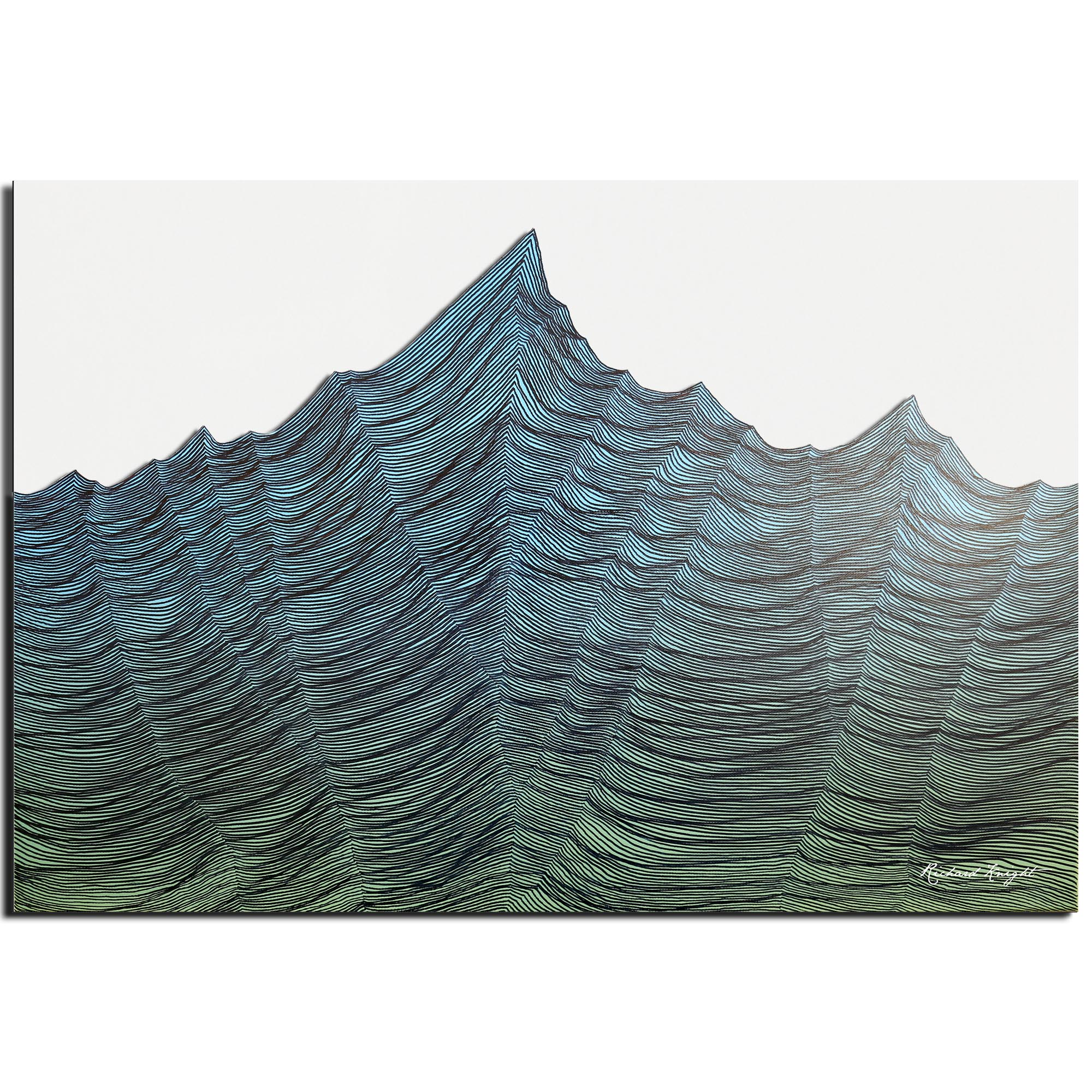 Richard Knight 'Lush Range' 32in x 22in Abstract Landscape Art on Polymetal