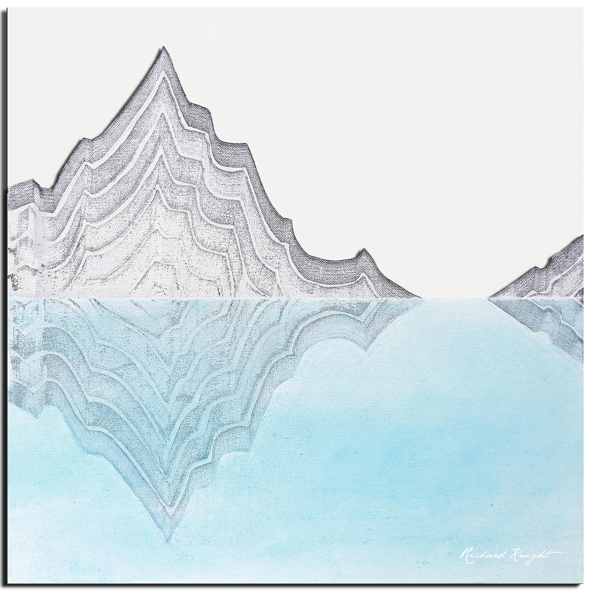Richard Knight 'Glacial Mountains' 22in x 22in Abstract Landscape Art on Polymetal