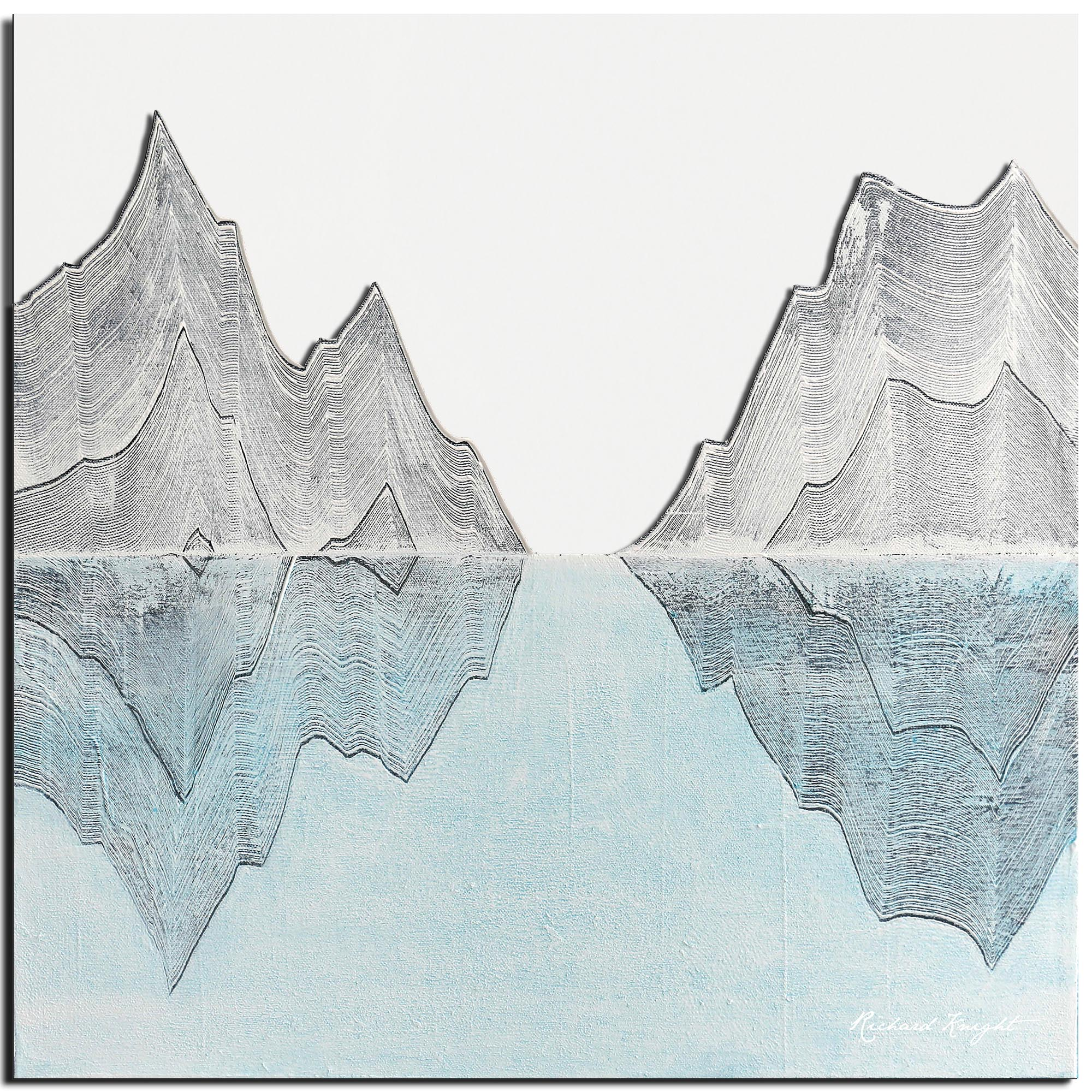 Richard Knight 'Reflection Peaks' 22in x 22in Abstract Landscape Art on Polymetal
