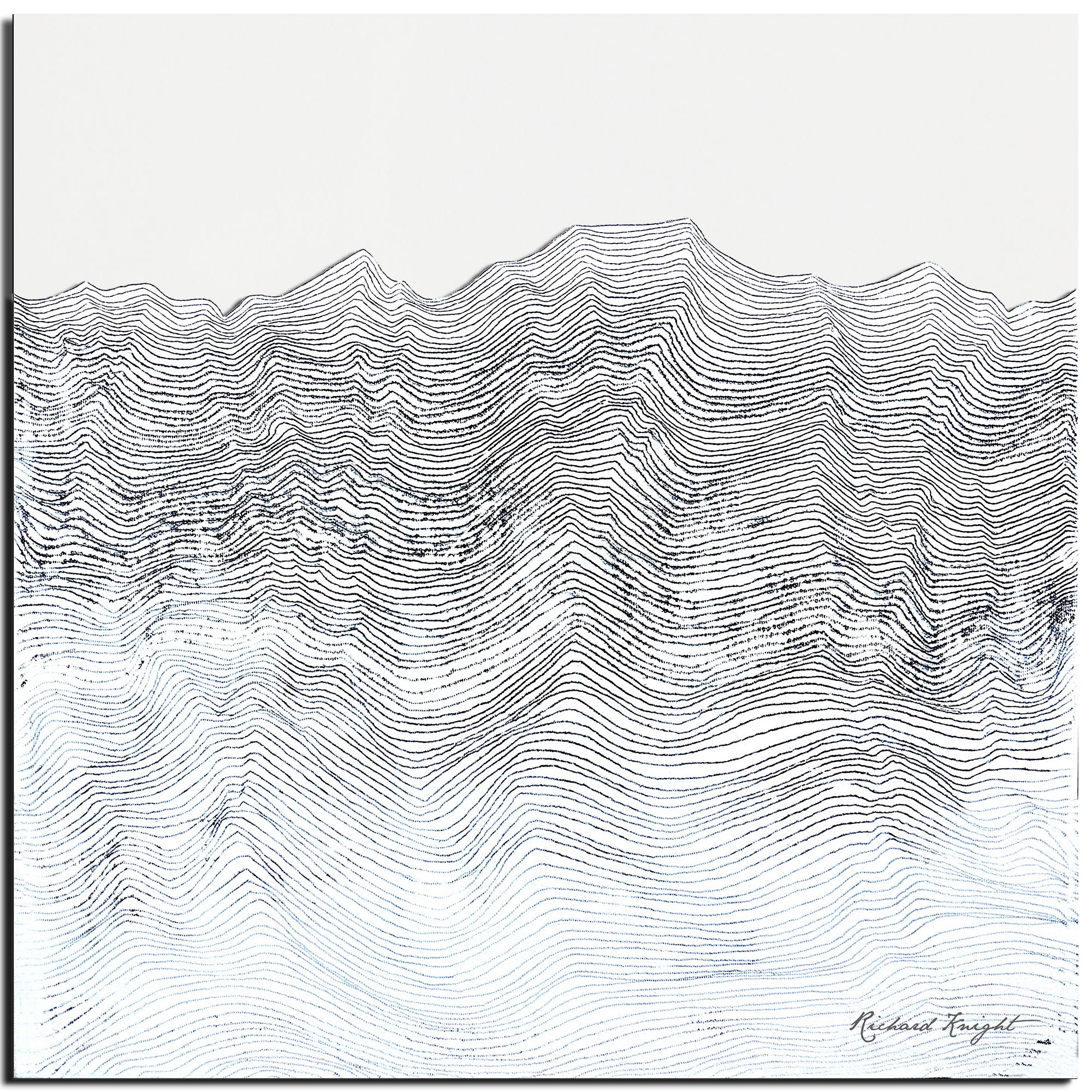 Richard Knight 'Whitewashed Horizon' 22in x 22in Abstract Landscape Art on Polymetal