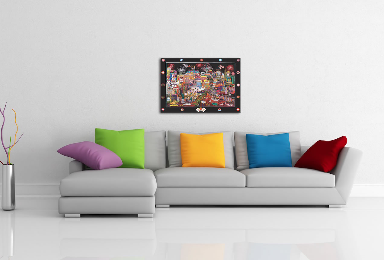Las Vegas - Abstract Cityscape Painting Print - Lifestyle Image