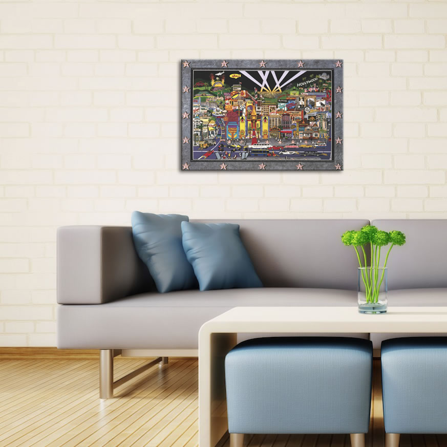 Hollywood - Abstract Cityscape Painting Print - Lifestyle Image