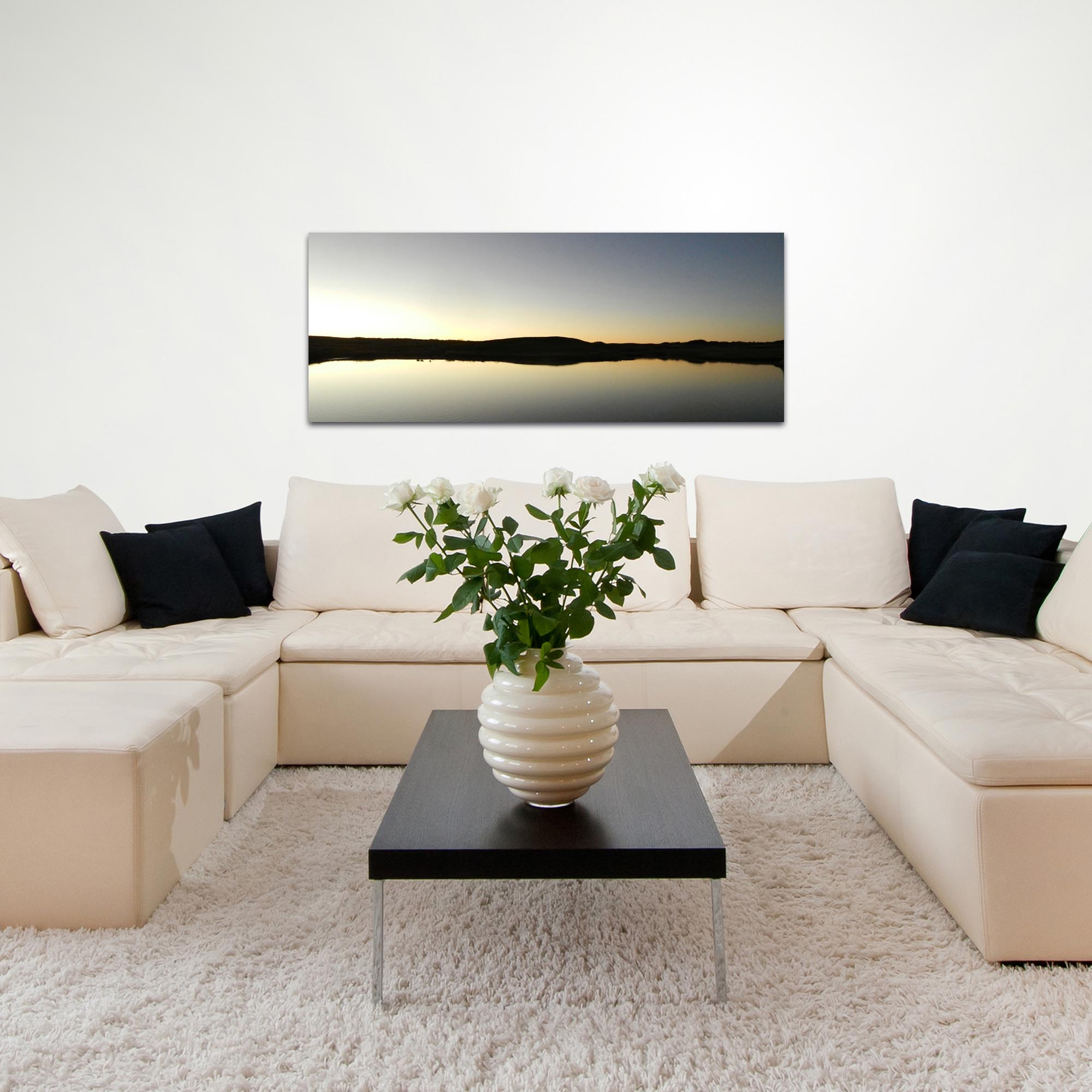 Western Wall Art 'Lakeside Sunset' - American West Decor on Metal or Plexiglass - Lifestyle View