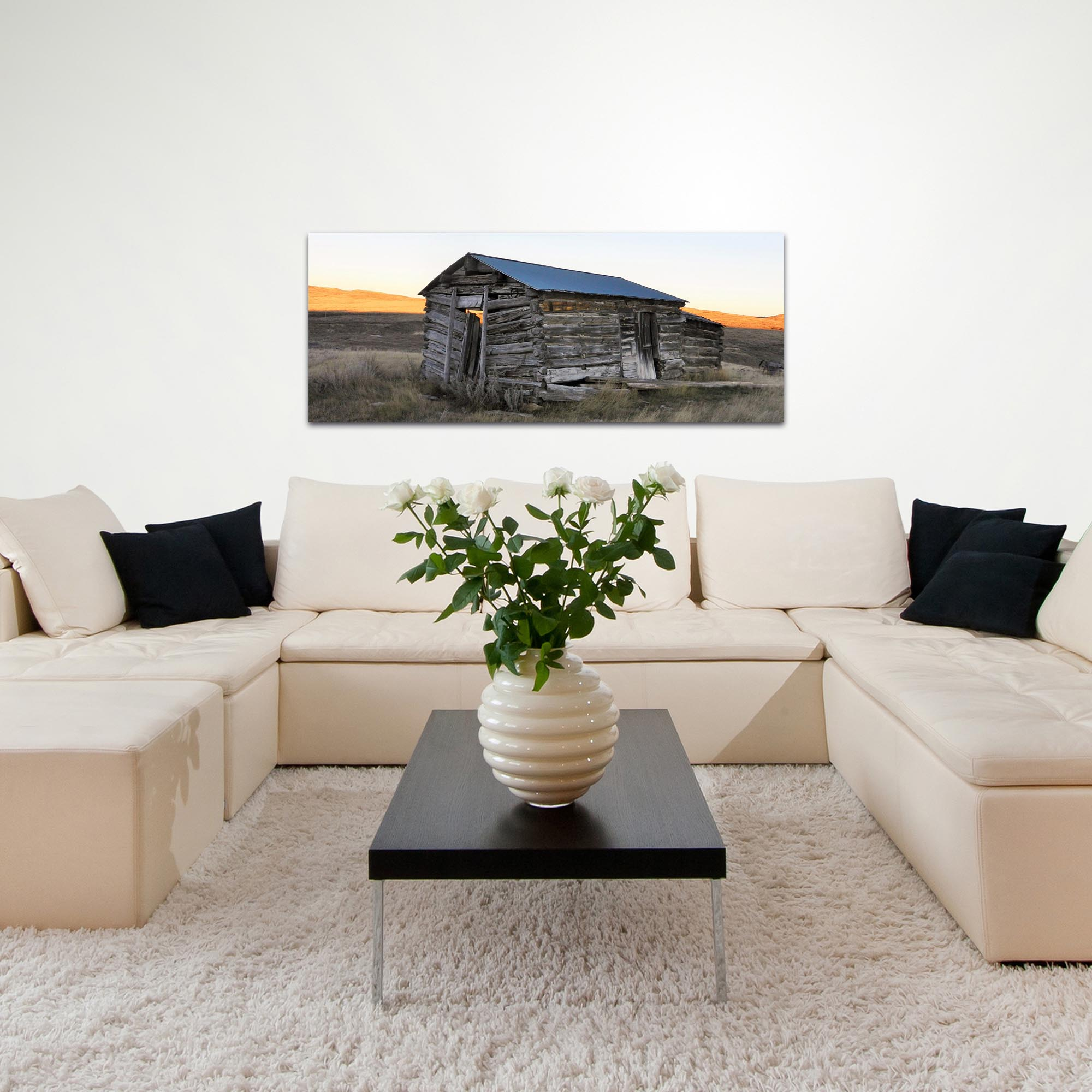 Western Wall Art 'The Log House' - American West Decor on Metal or Plexiglass - Lifestyle View