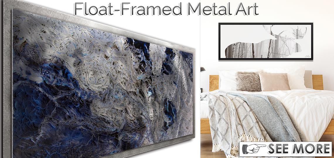 Float-Framed Contemporary Metal Wall Art