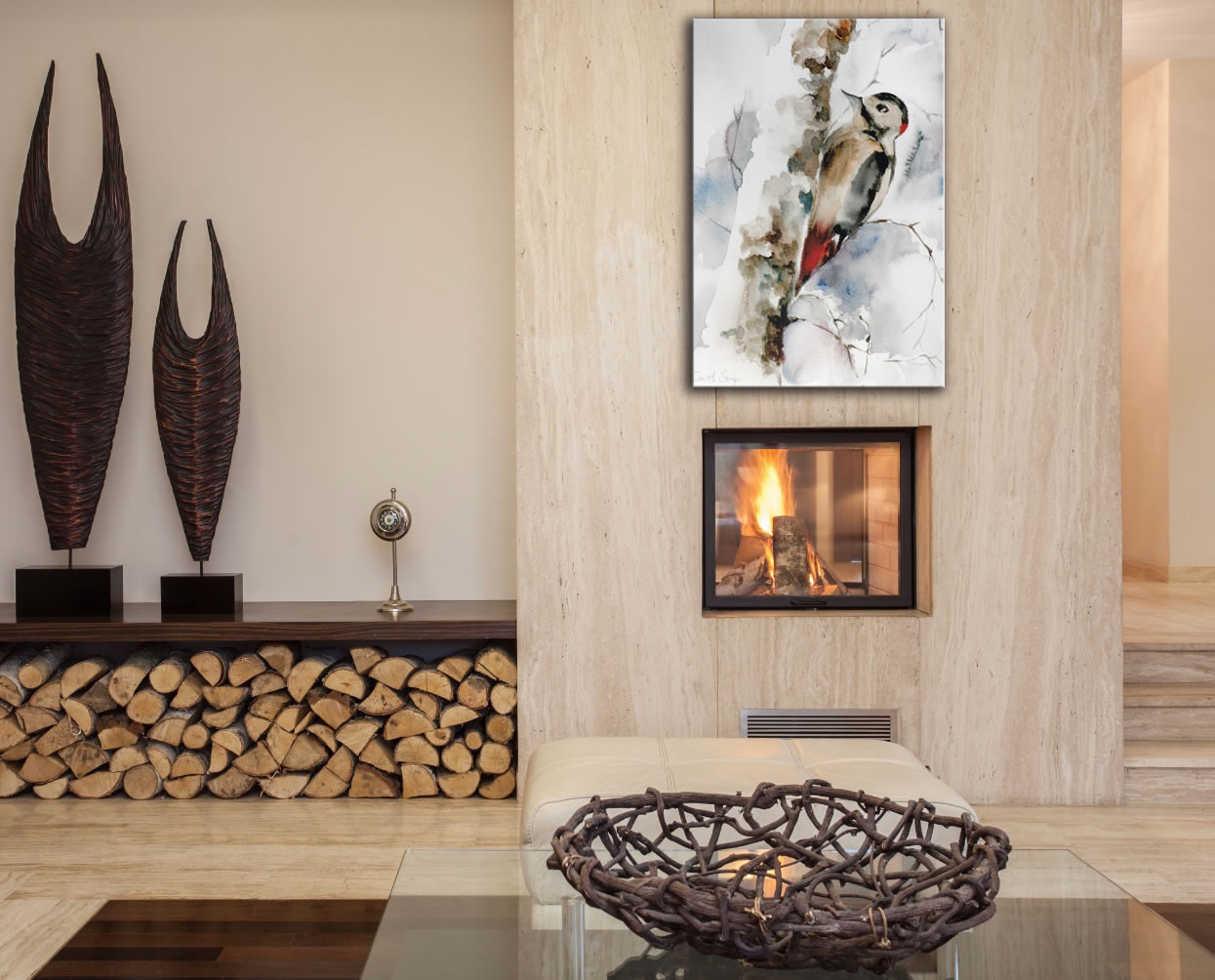 Woodpecker - Modern Metal Wall Art - Lifestyle Image