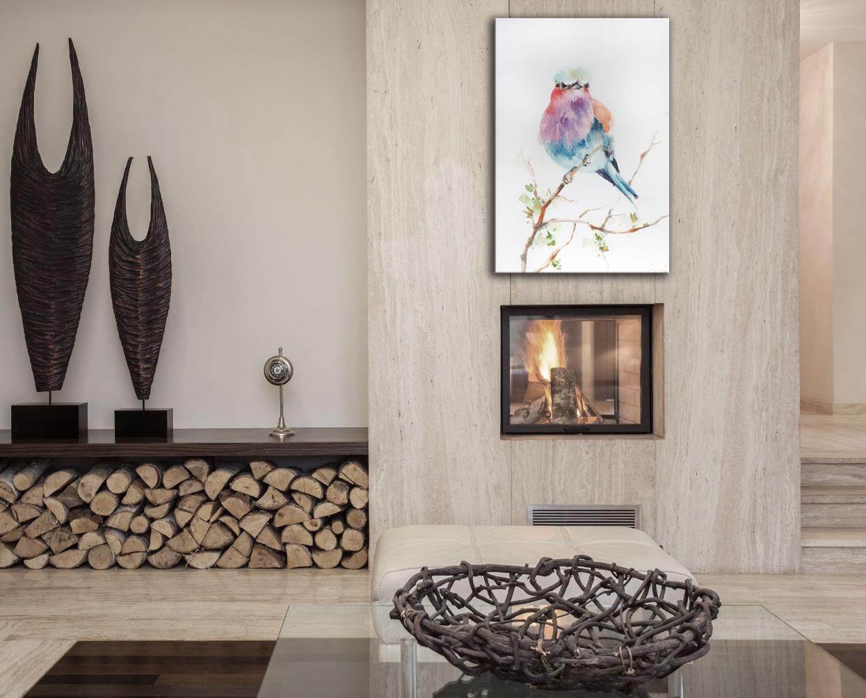 Lilac Bird - Modern Metal Wall Art - Lifestyle Image