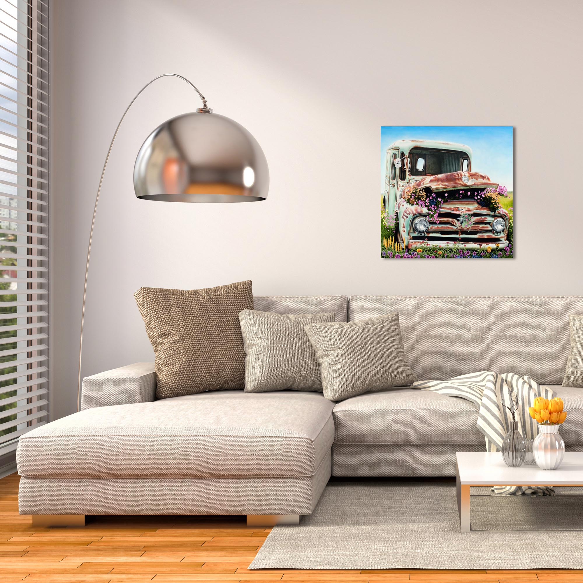 Americana Wall Art 'Got Flowers' - Classic Cars Decor on Metal or Plexiglass - Lifestyle View