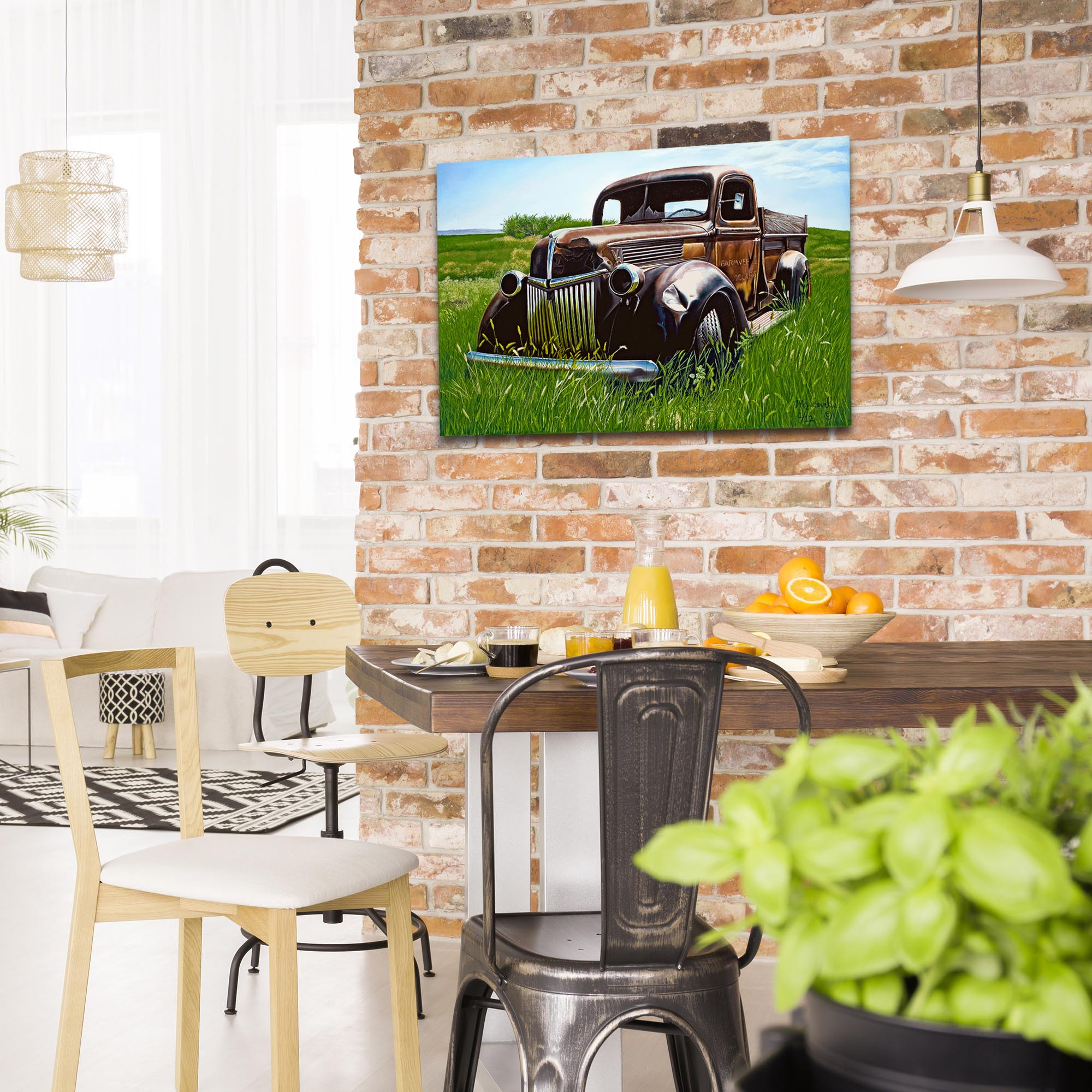 Americana Wall Art 'Out to Pasture' - Classic Trucks Decor on Metal or Plexiglass - Lifestyle View