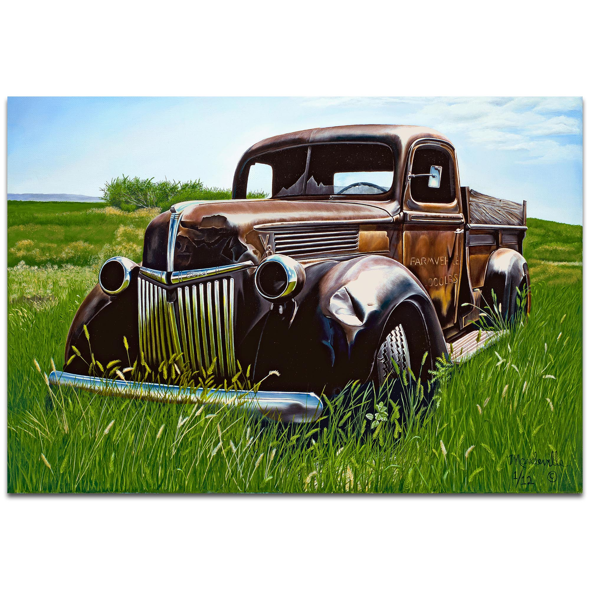 Americana Wall Art 'Out to Pasture' - Classic Trucks Decor on Metal or Plexiglass