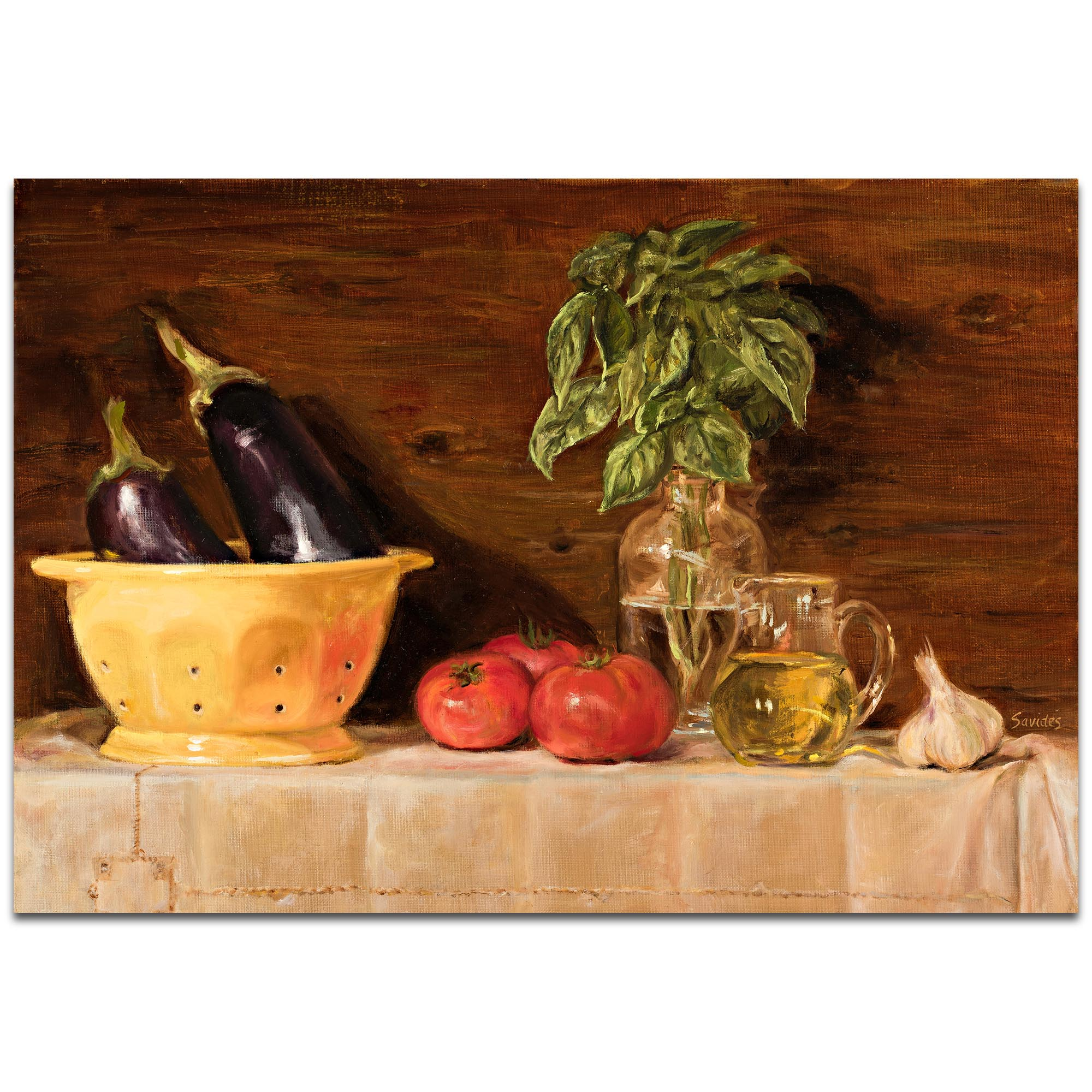 Traditional Wall Art 'Eggplant' - Still Life Decor on Metal or Plexiglass