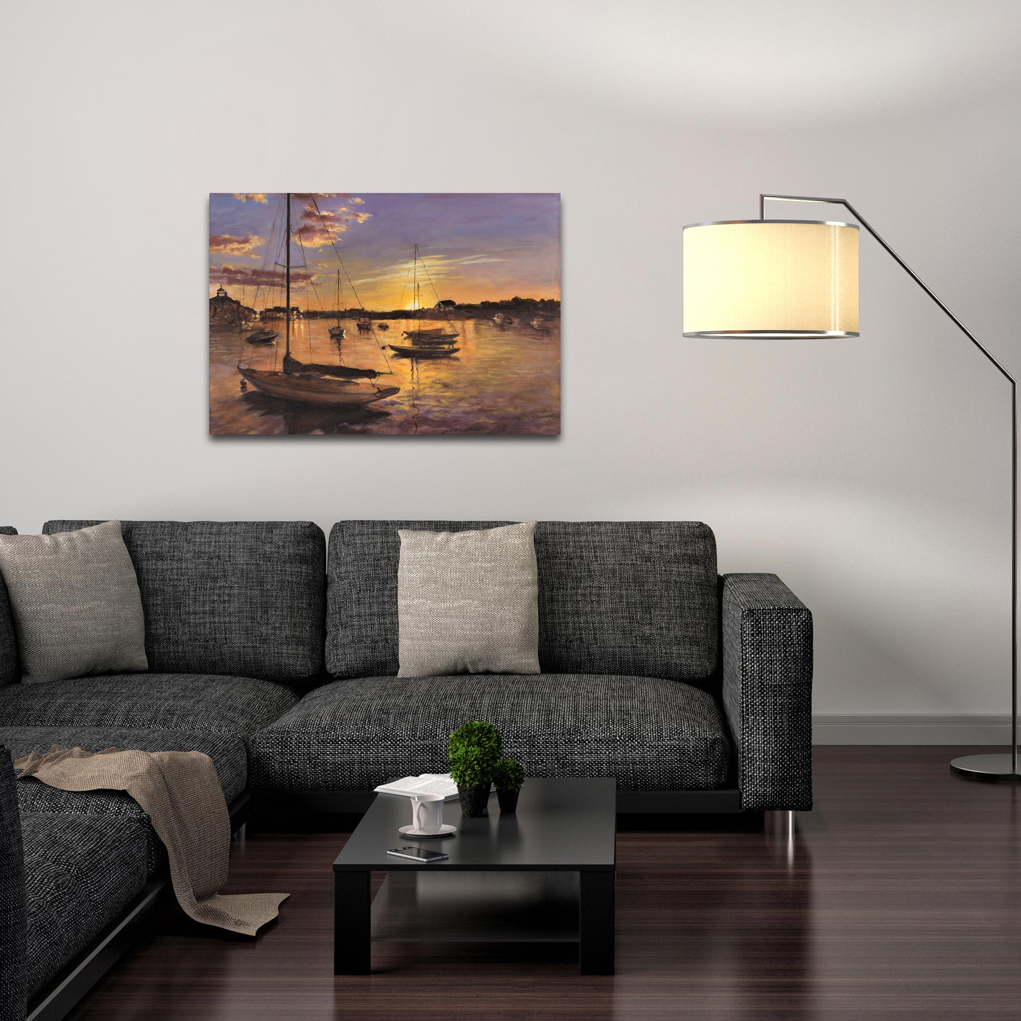 Coastal Wall Art 'Harbor 1' - Boats Decor on Metal or Plexiglass - Lifestyle View