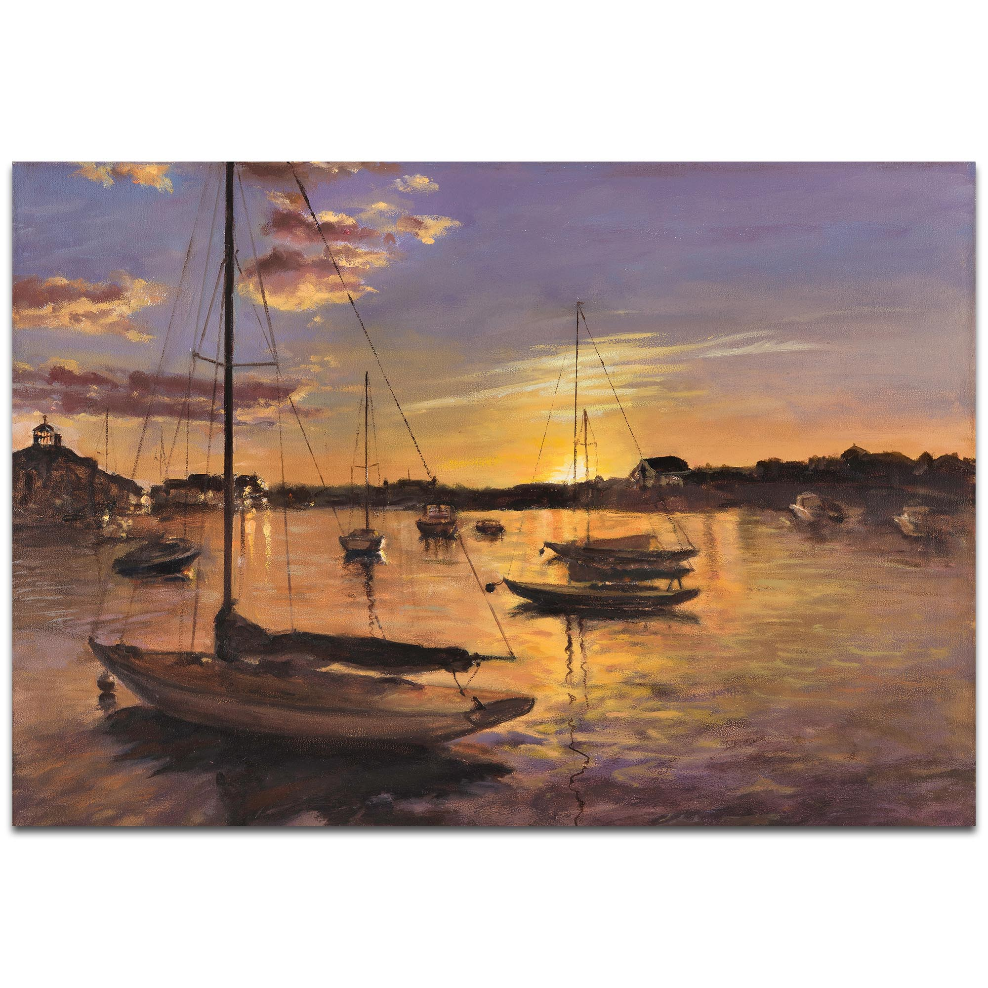 Coastal Wall Art 'Harbor 1' - Boats Decor on Metal or Plexiglass